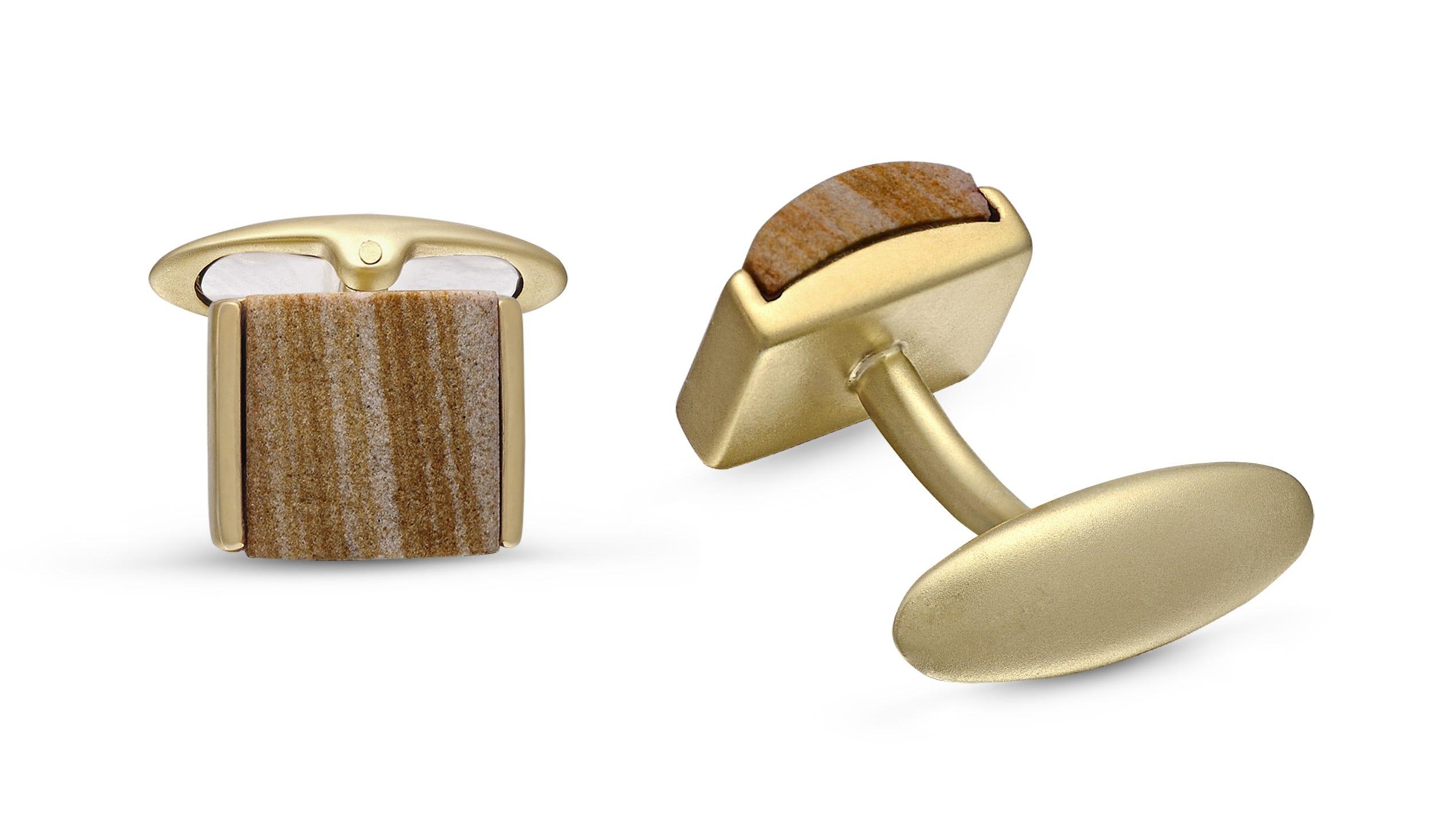 Wood Jasper Stone Cufflinks in Sterling Silver & 14k Yellow Gold Plating