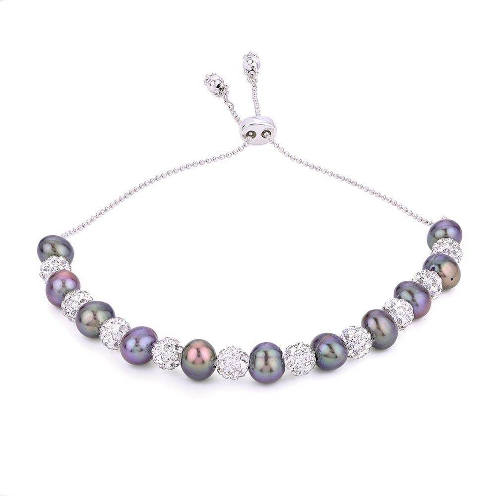 Black Freshwater Pearl & Crystal Bead Bolo Bracelet