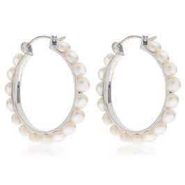 Freshwater Button Pearl Hoop Earrings in Sterling Silver