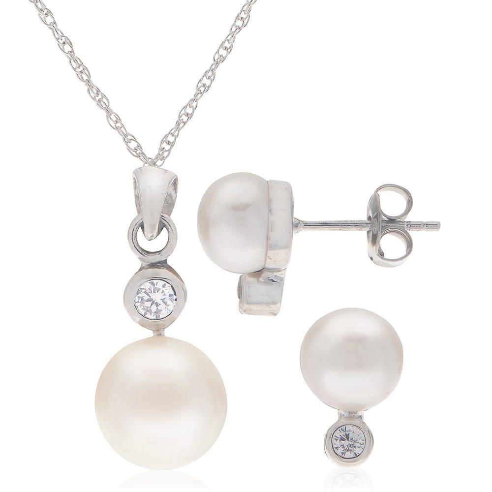 Necklace & Earrings Freshwater Pearl Set in Sterling Silver