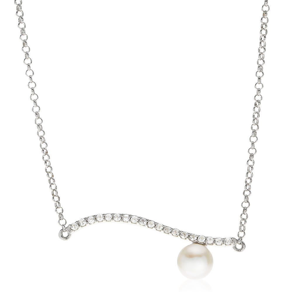 Wave Pearl & White Topaz Necklace in Sterling Silver