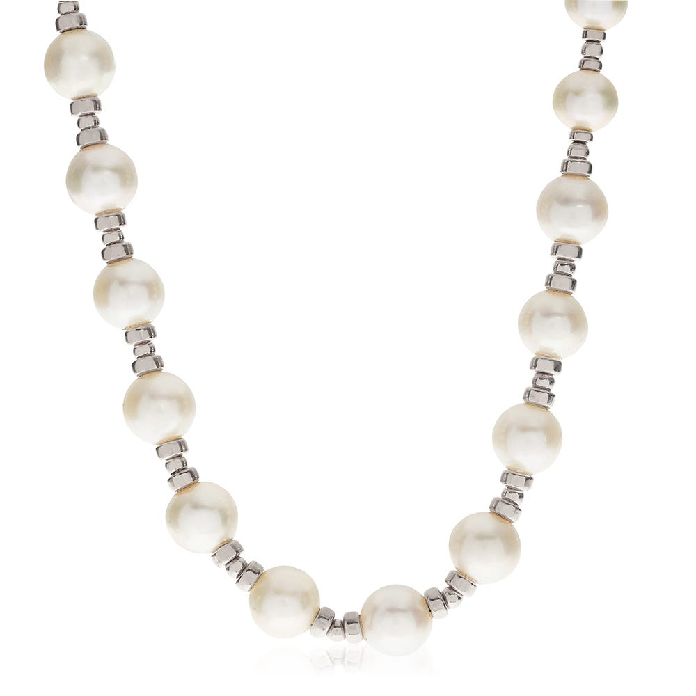 Freshwater Pearl & Silver Bead Necklace