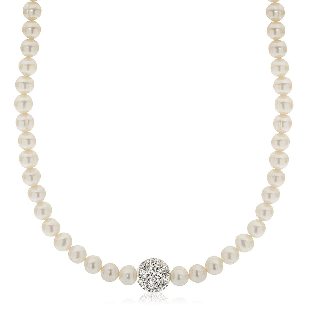 Pearl & Large Crystal Bead Strand Necklace