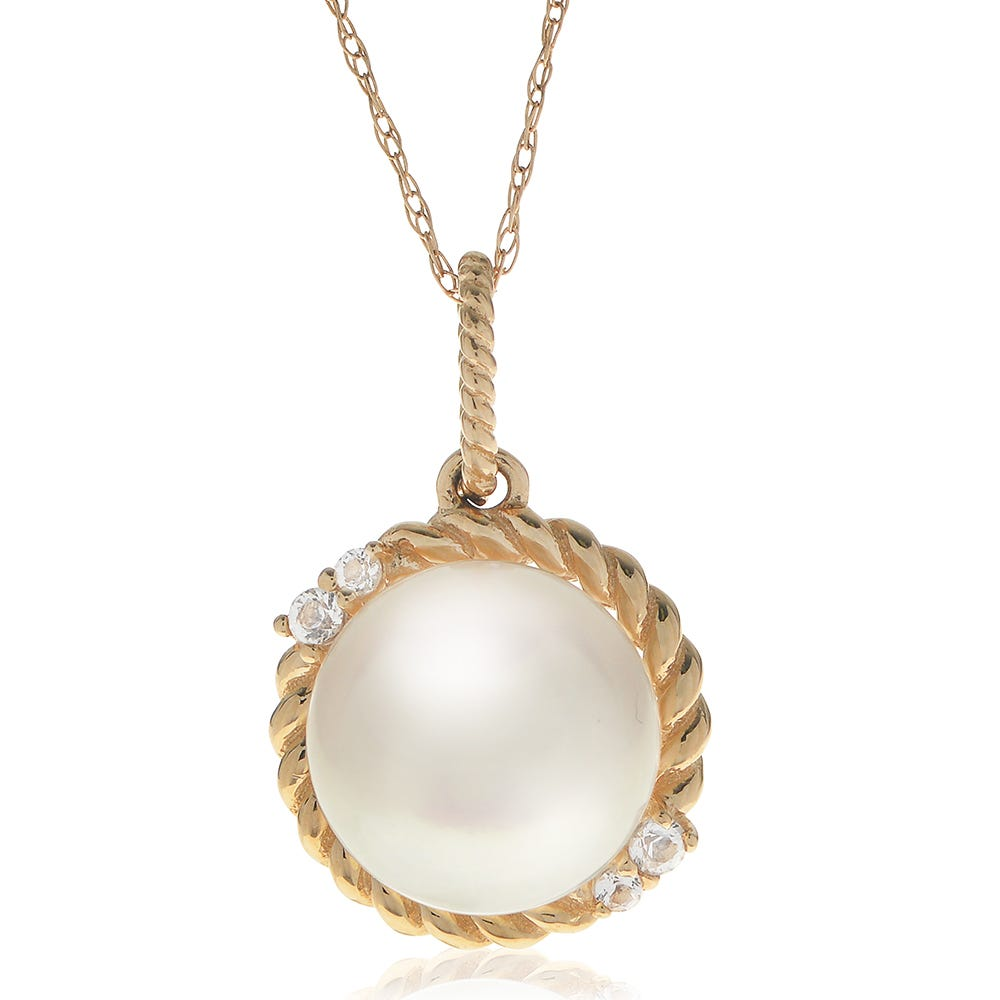 Freshwater Pearl & White Topaz Accent Pendant