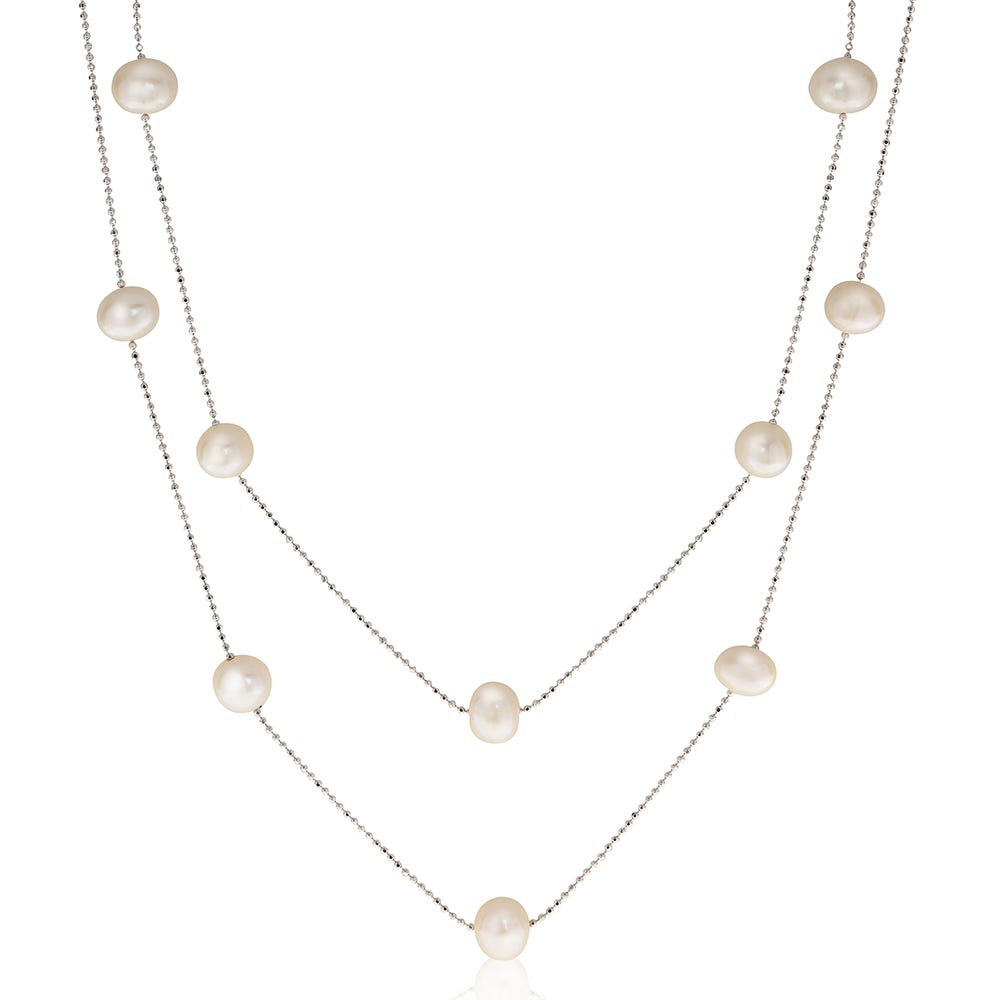 Freshwater Pearl Double Layer Necklace in Sterling Silver
