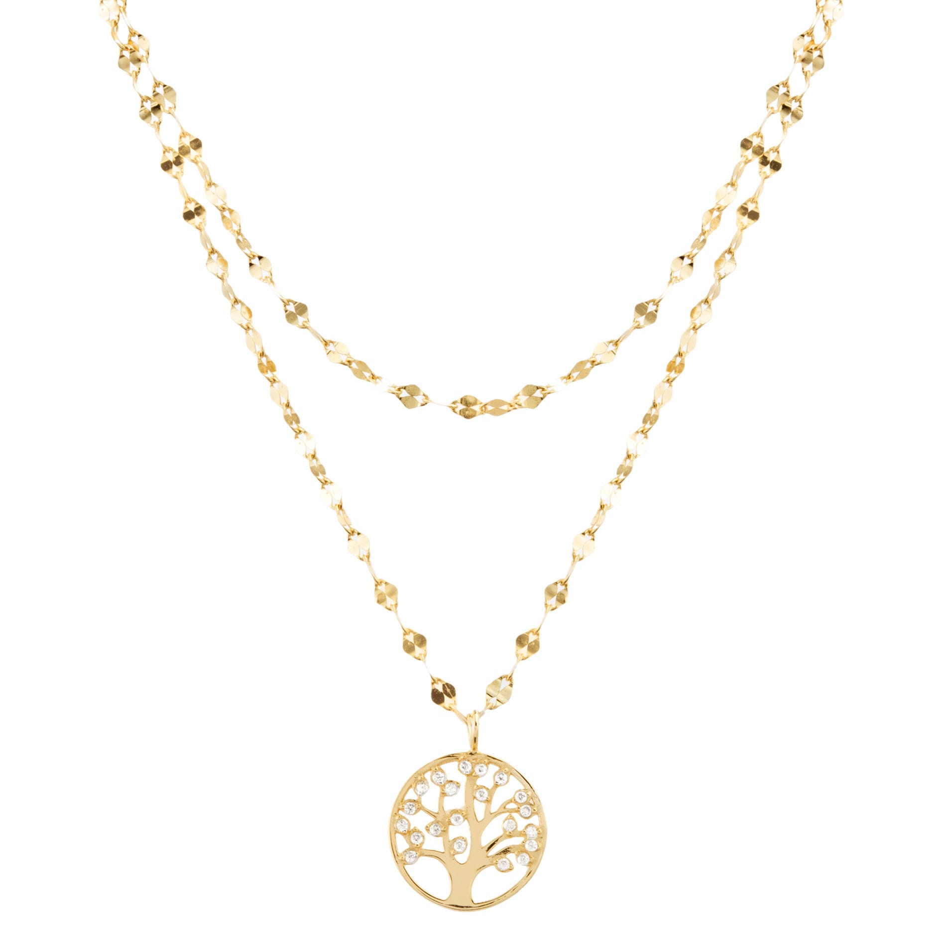 Tree of Life Choker Necklace in Yellow Gold Plated Sterling Silver
