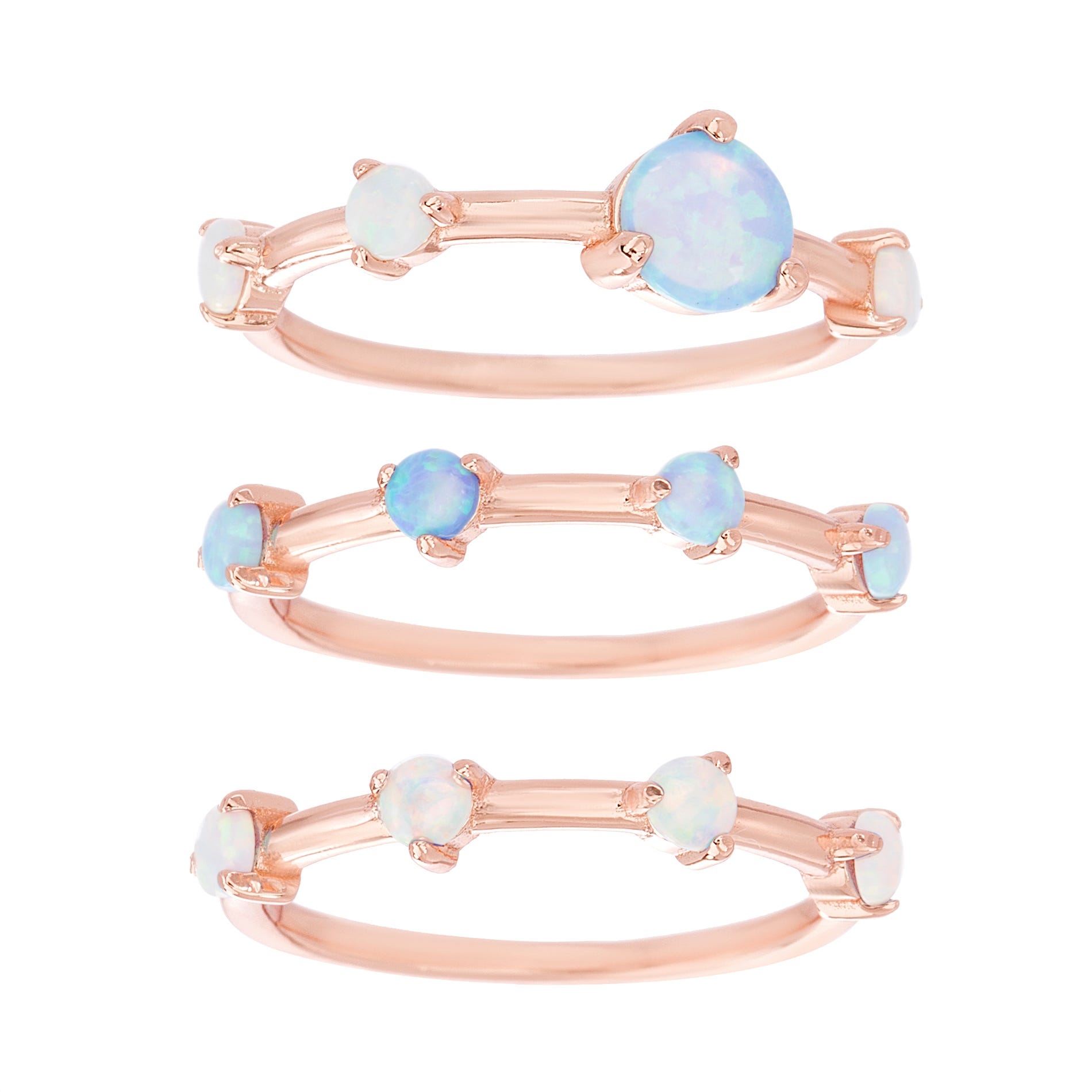 White & Blue Created Opal Trio Stackable Ring Set