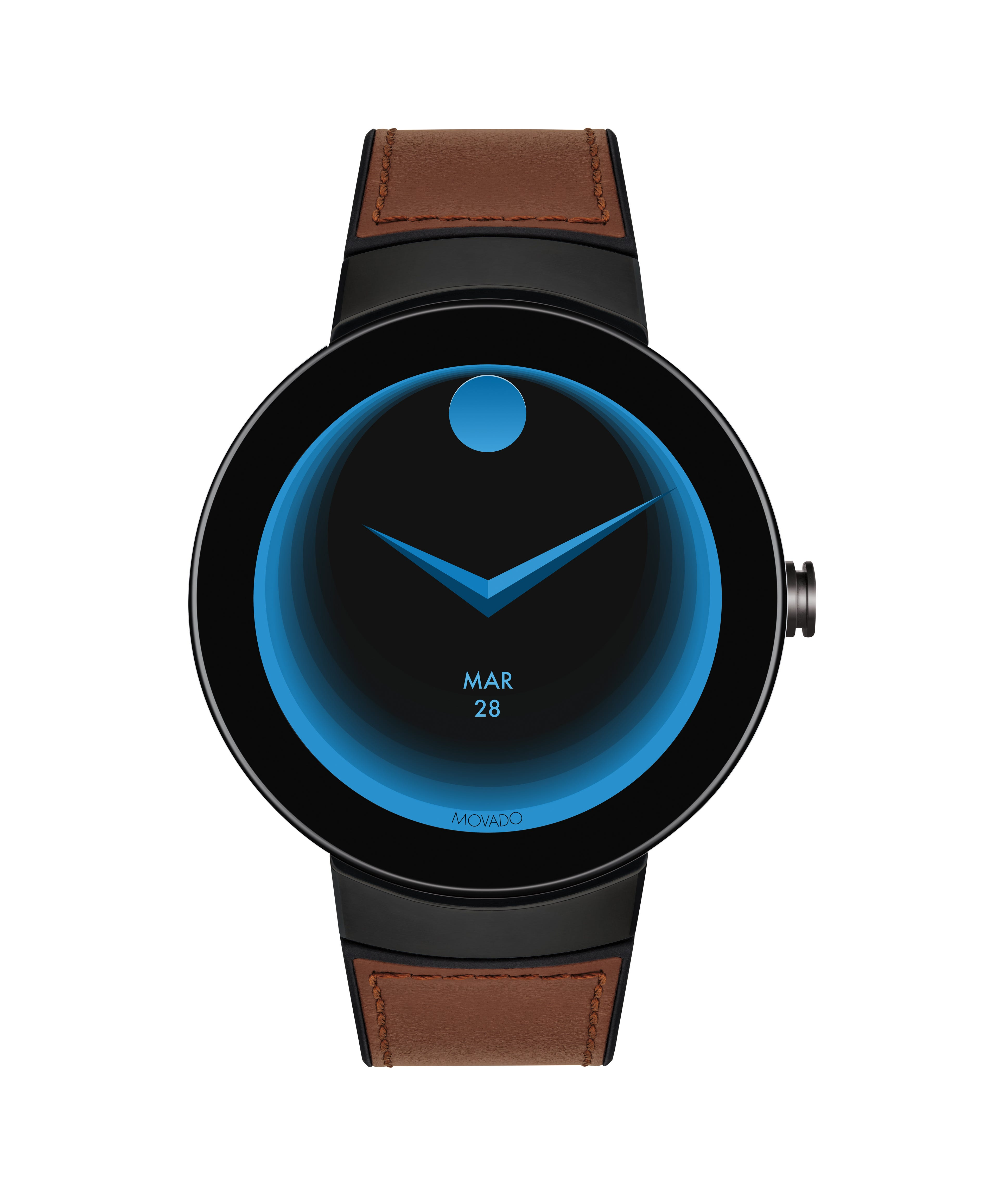 502f3aec5 Movado Connect Cognac Leather Strap Smartwatch 3660019