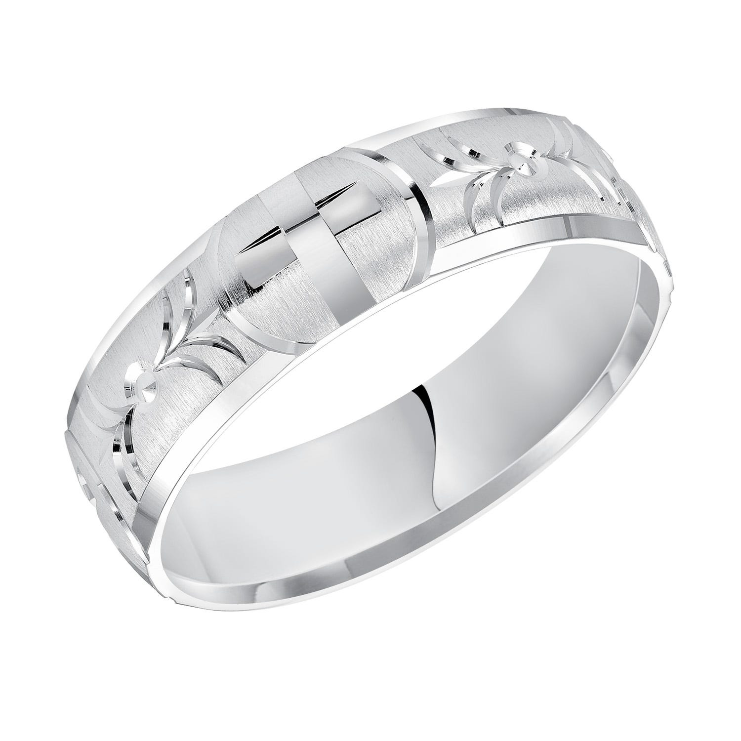 Men's Swiss Cut & Cross Detail Wedding Band in 14k White Gold