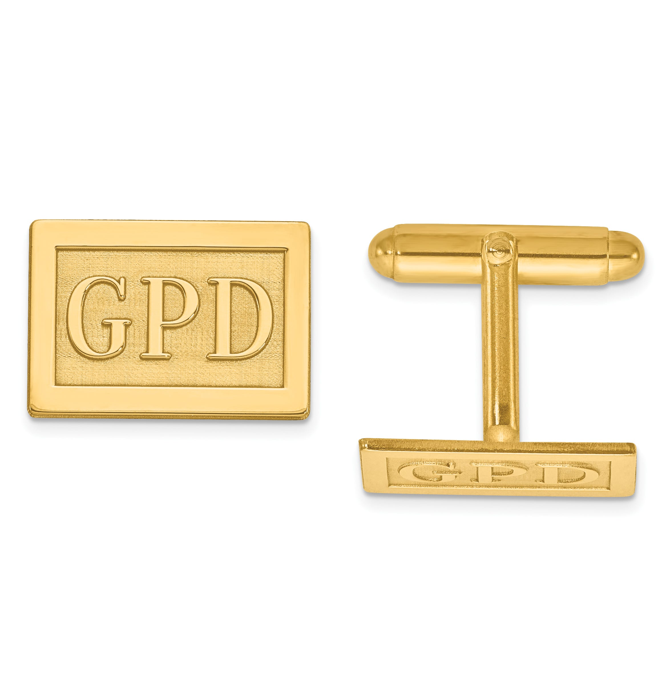 Raised Letters Rectangle Monogram Cuff Links in 14k Yellow Gold (up to 3 letters)