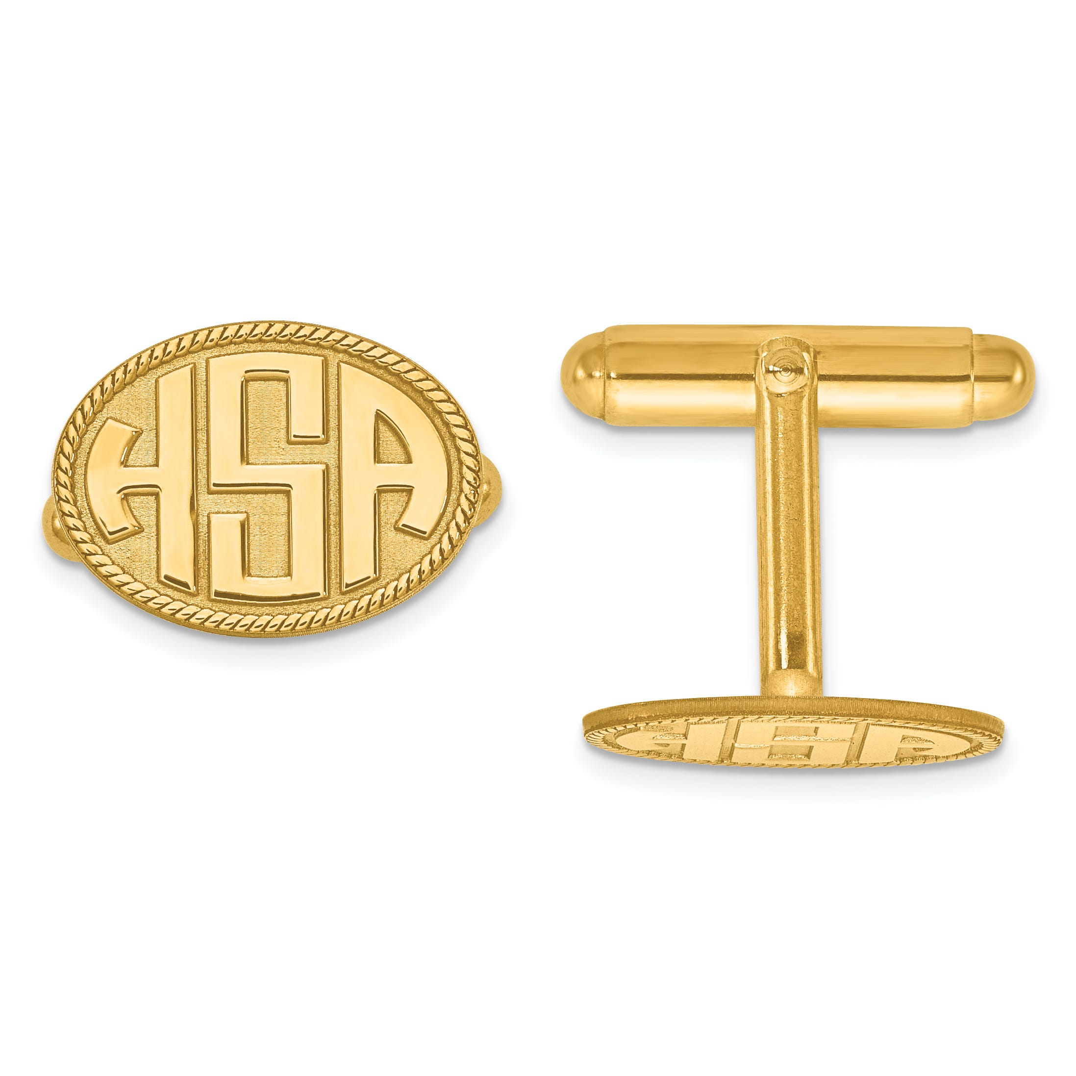 Raised Letters Oval Border Monogram Cuff Links in 14k Yellow Gold (up to 3 letters)