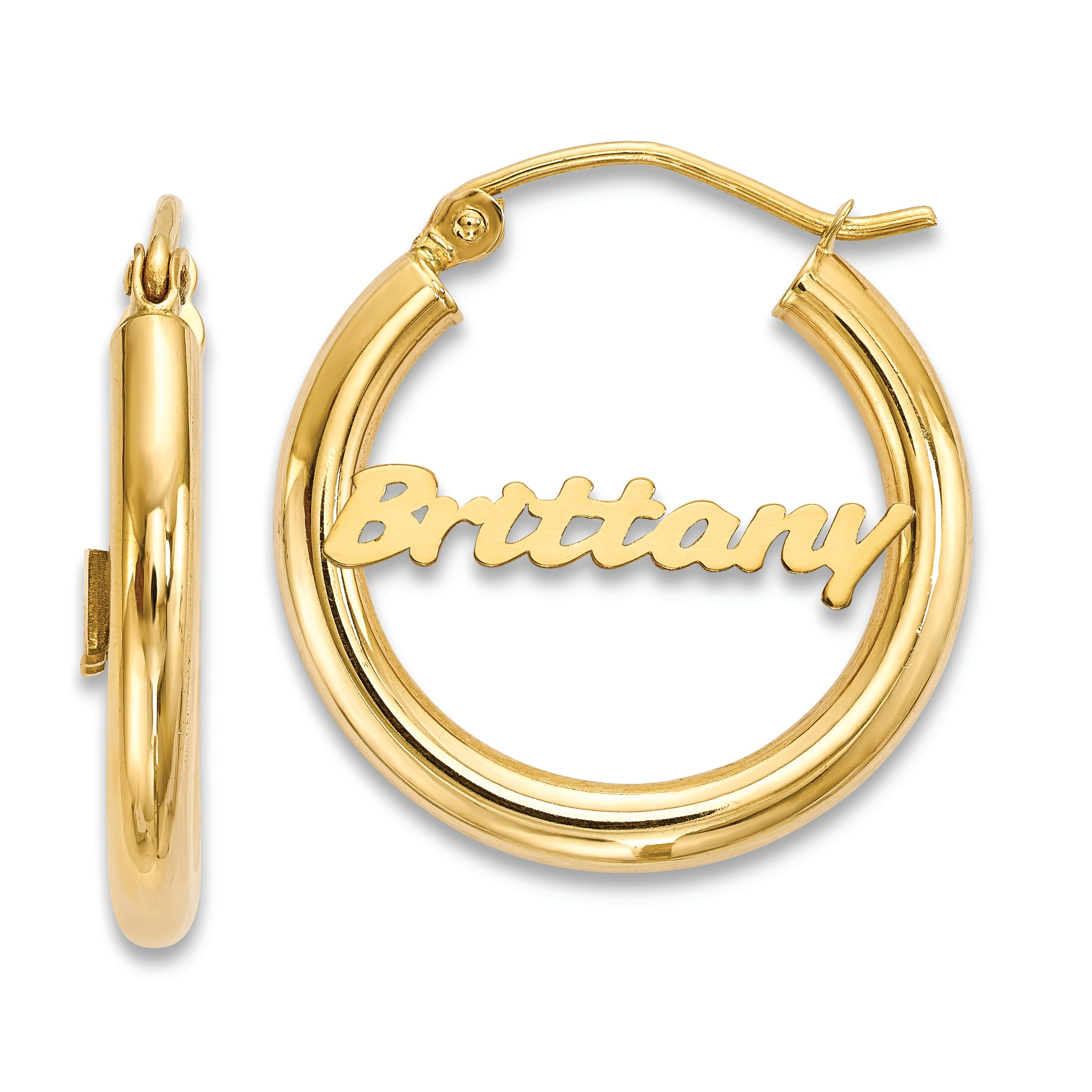 Polished Monogram Tube Earrings in 10k Yellow Gold