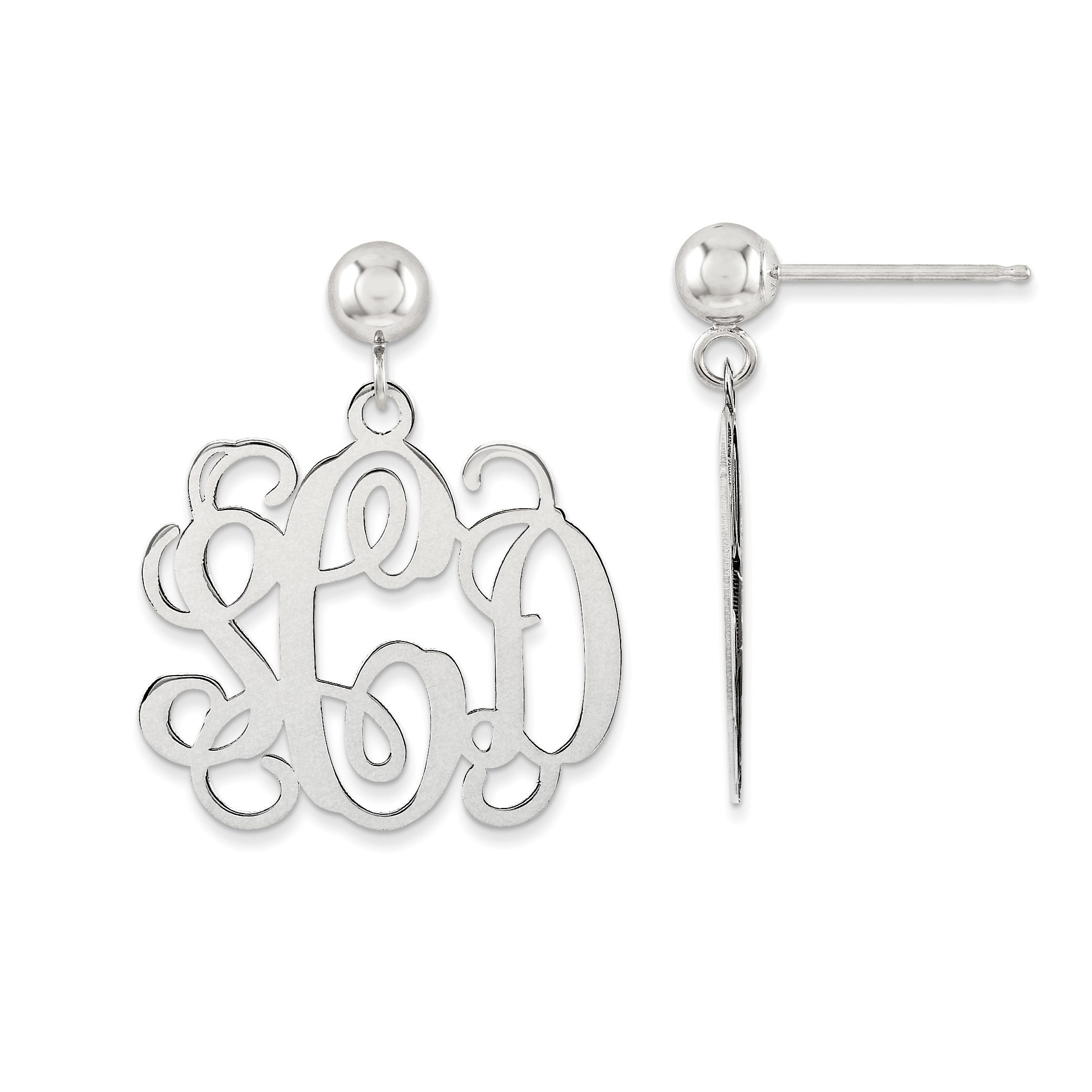 Polished Monogram Post Dangle Earrings in Sterling Silver (up to 3 letters)