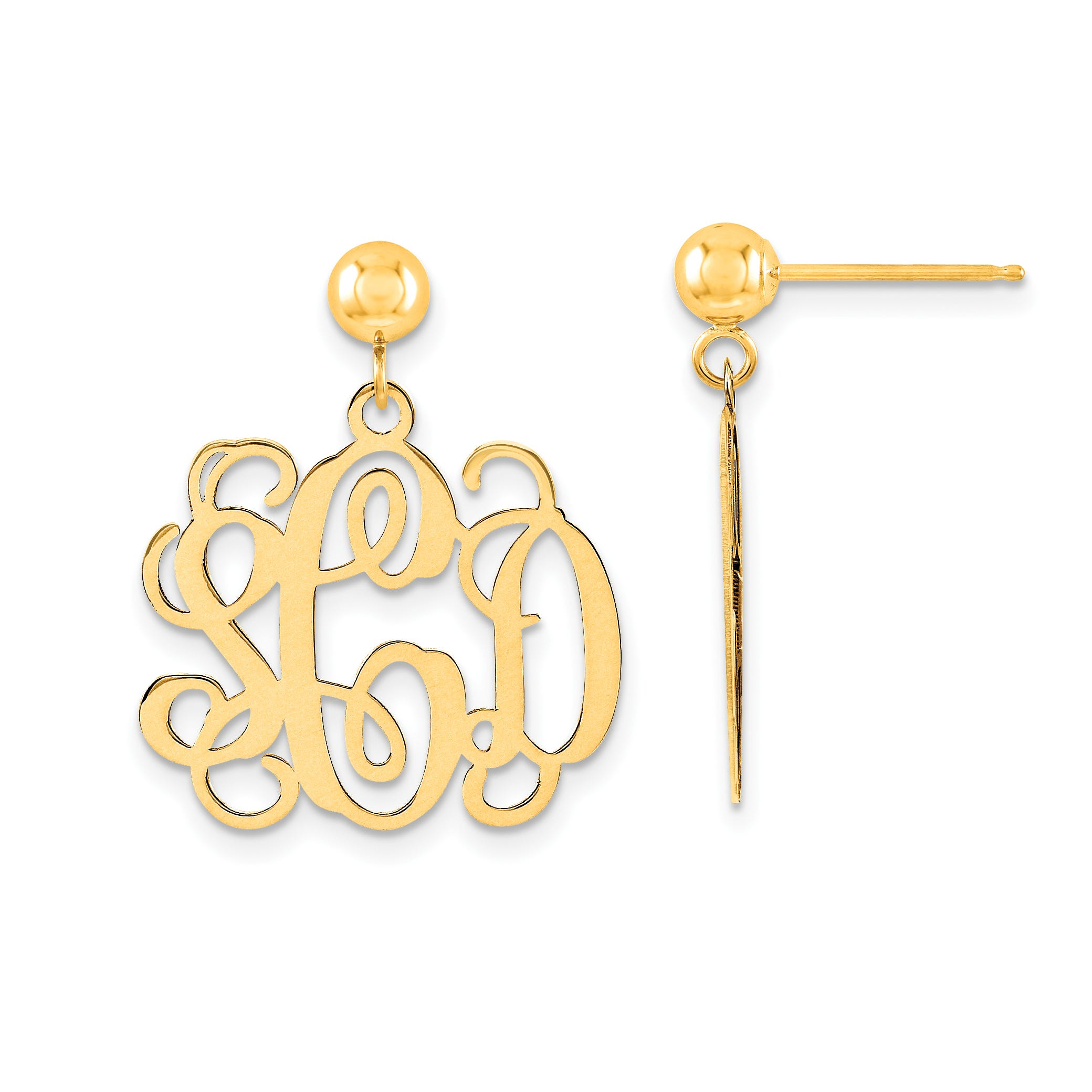 Polished Monogram Post Dangle Earrings in 14k Yellow Gold (up to 3 letters)