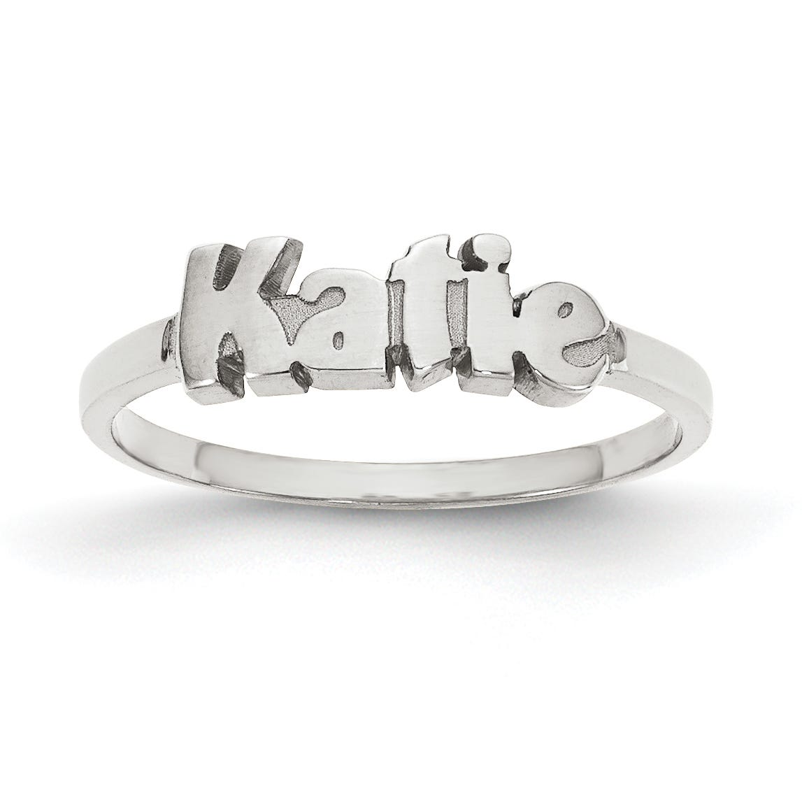 Laser Polished Block Name Ring in Sterling Silver (up to 9 letters)
