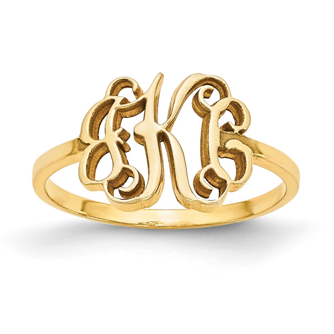 Laser Polished Monogram Ring in 10k Yellow Gold (up to 3 letters)