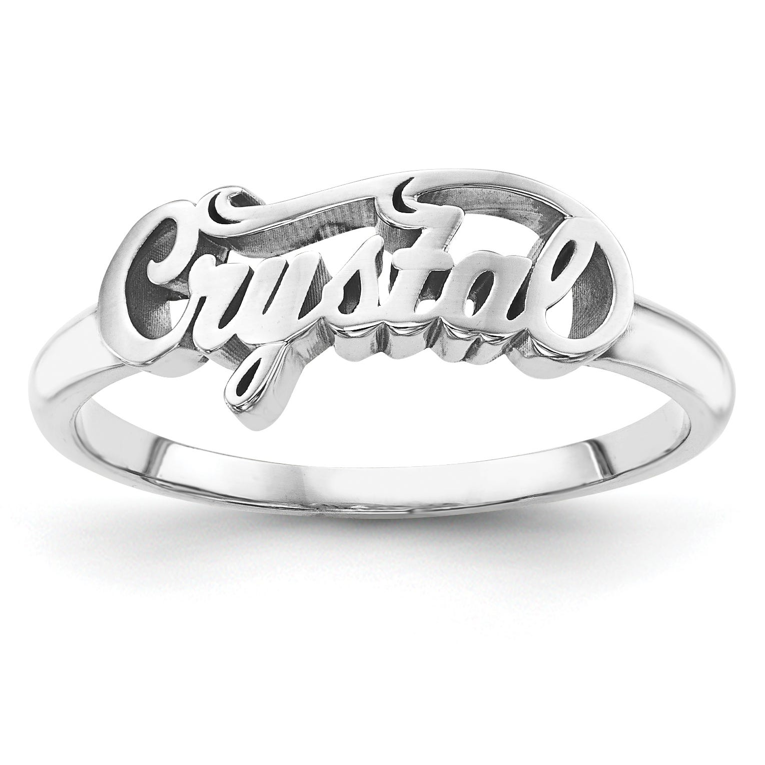 Casted High Polish Name Ring in Sterling Silver (up to 9 letters)