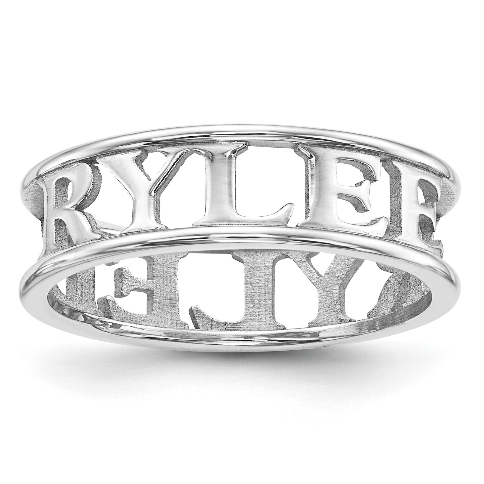Casted High Polish Name Band in Sterling Silver (up to 9 letters)