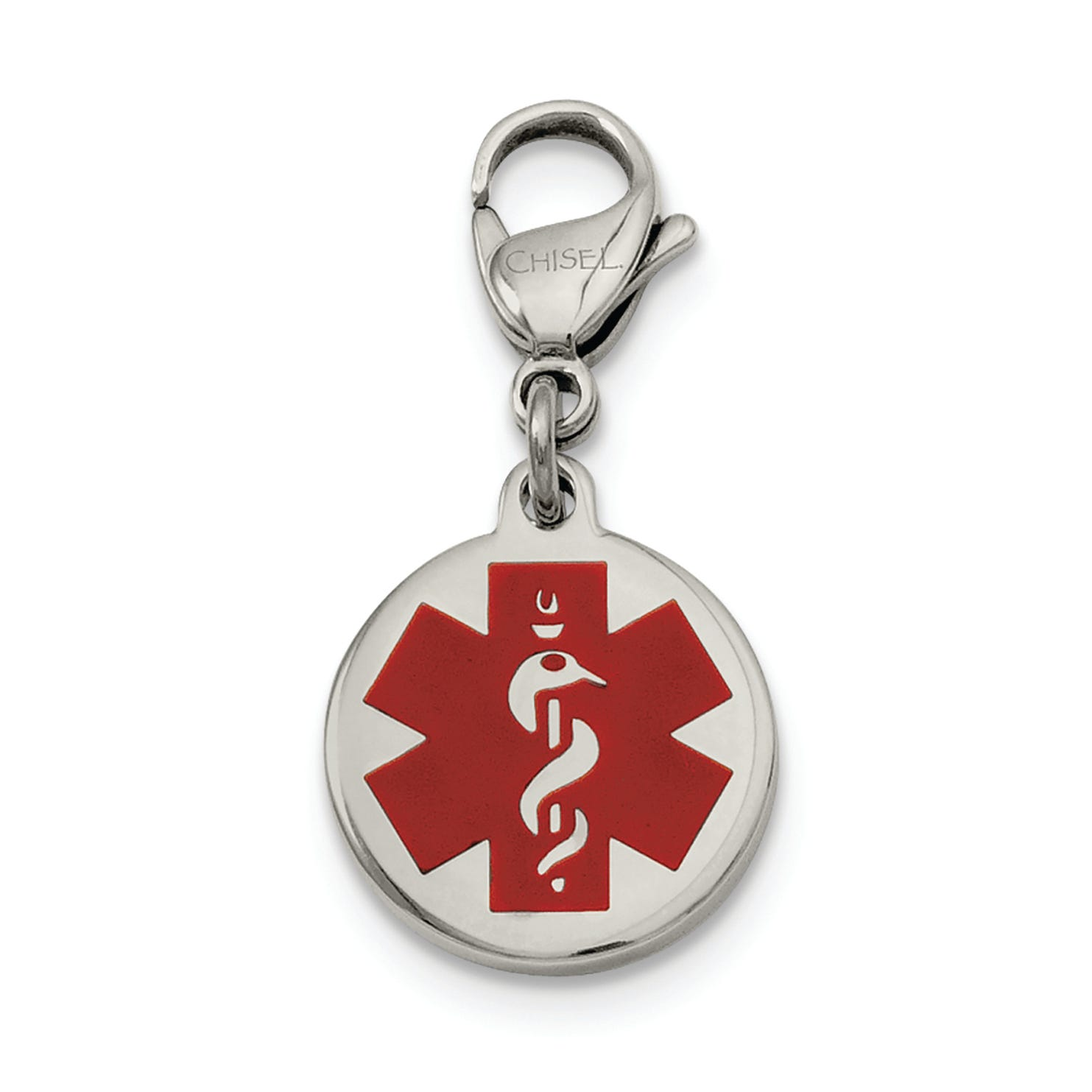 Medical Alert ID Charm in Stainless Steel