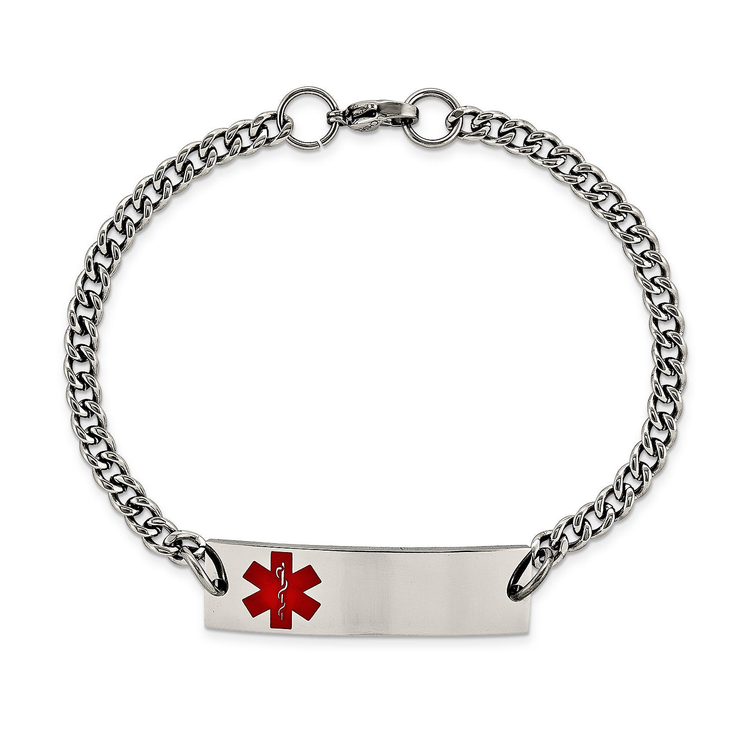 Medical Red Alert ID Rectangle Tag Bracelet in Stainless Steel