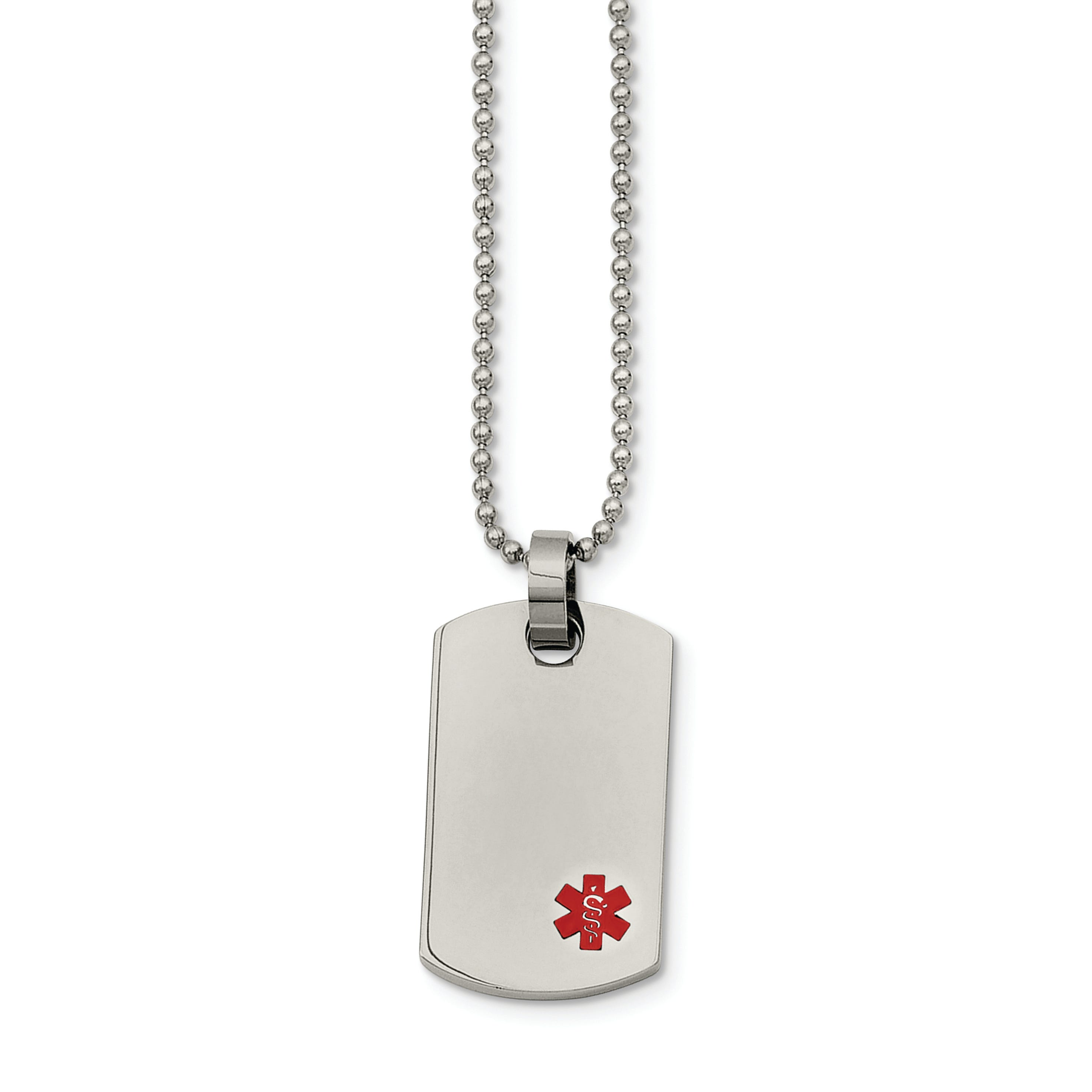 Medical Alert ID Small Dog Tag Necklace in Stainless Steel