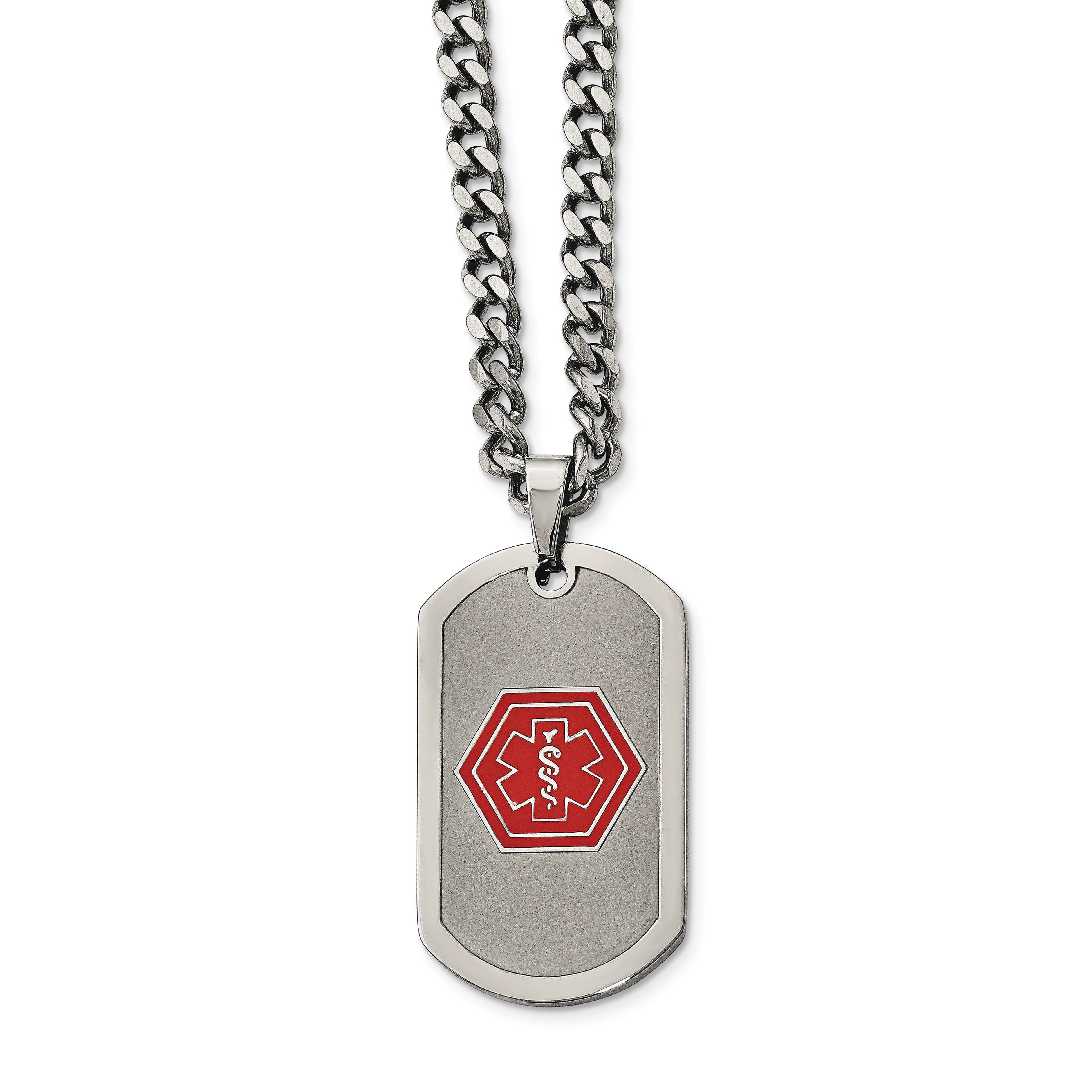 Medical Alert ID Curb Chain Dog Tag Necklace in Stainless Steel