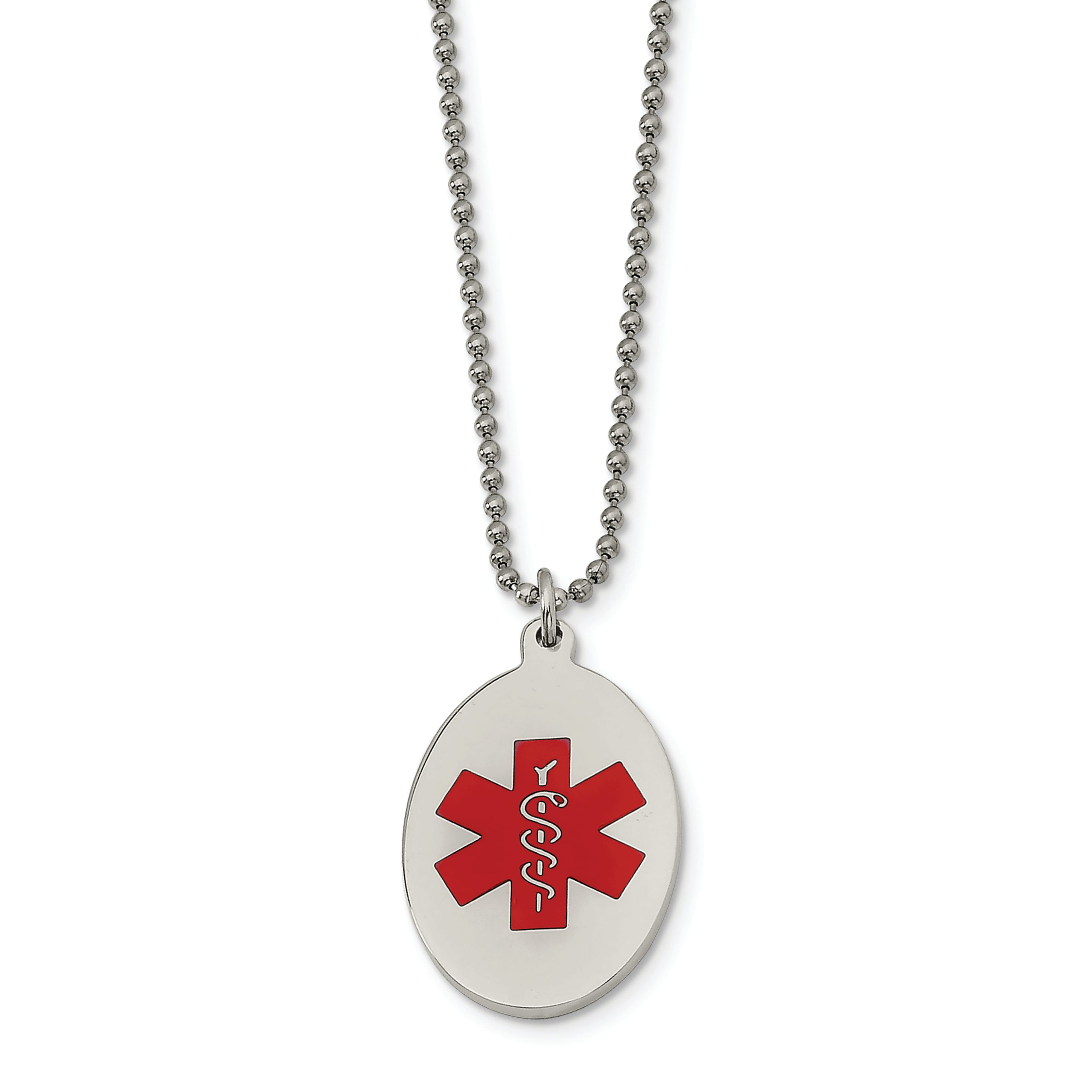 Medical Alert ID Oval Dog Tag Necklace in Stainless Steel