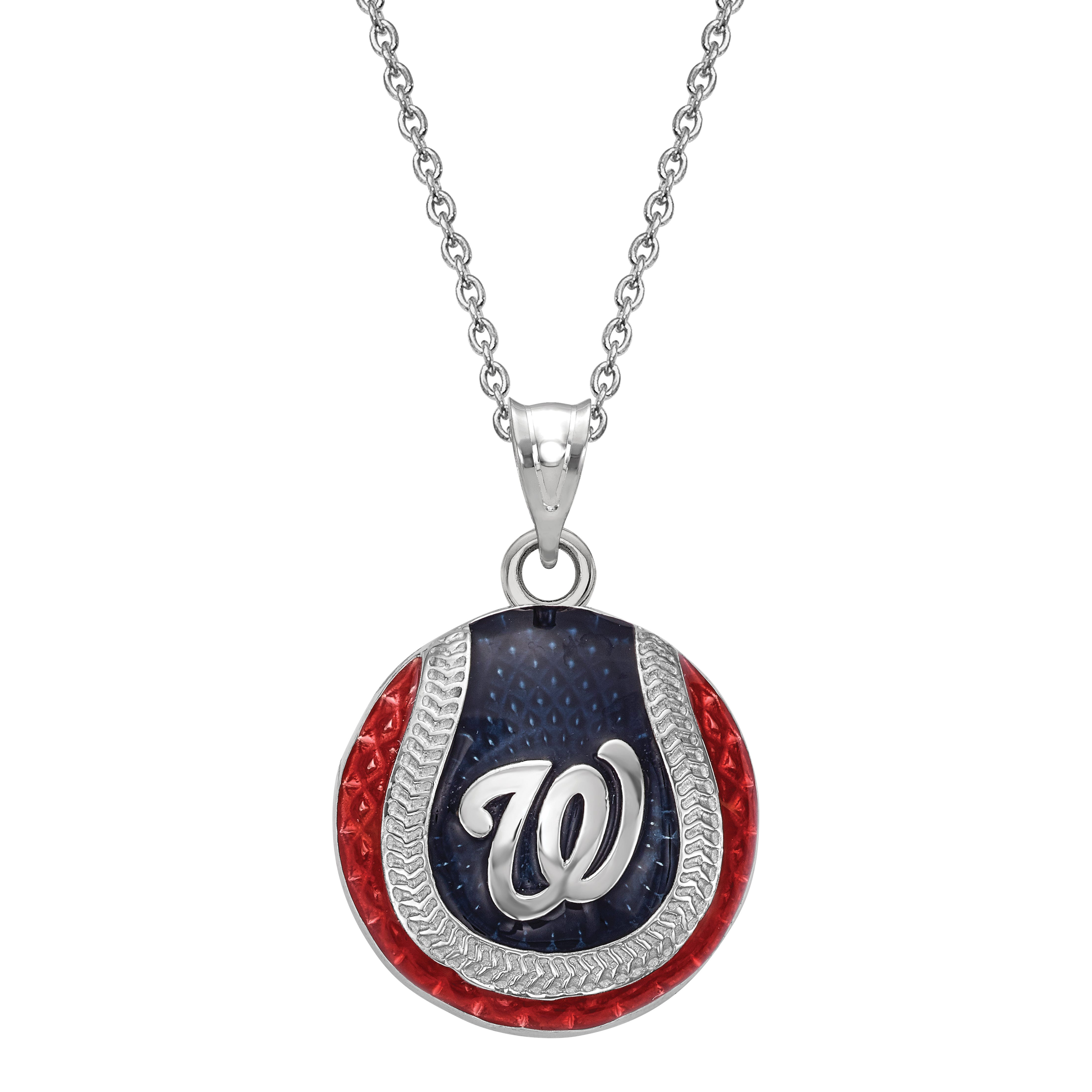 Washington Nationals Enameled Baseball Pendant in Sterling Silver