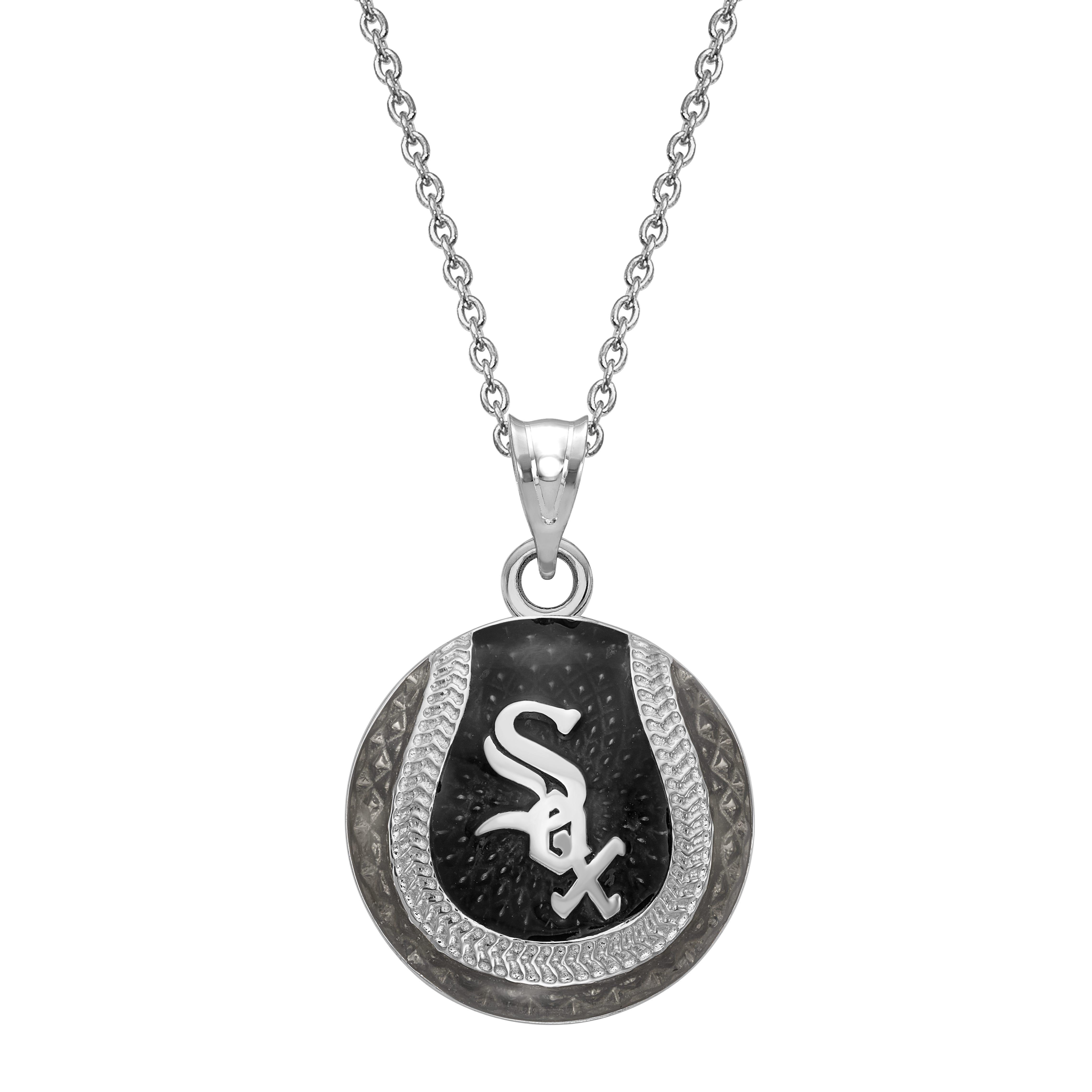Chicago White Sox Baseball Enameled Pendant in Sterling Silver