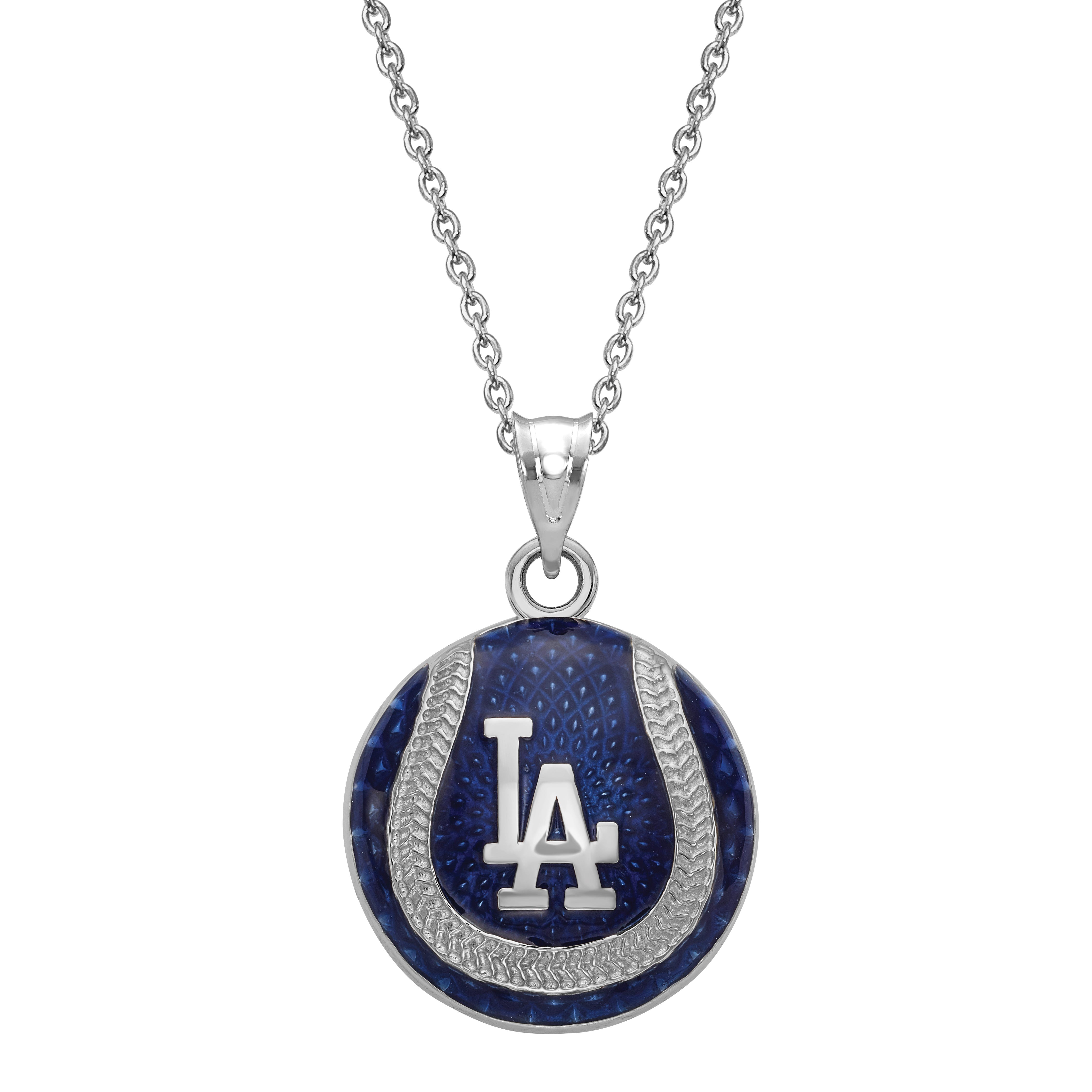 Los Angeles Dodgers Enameled Baseball Pendant in Sterling Silver