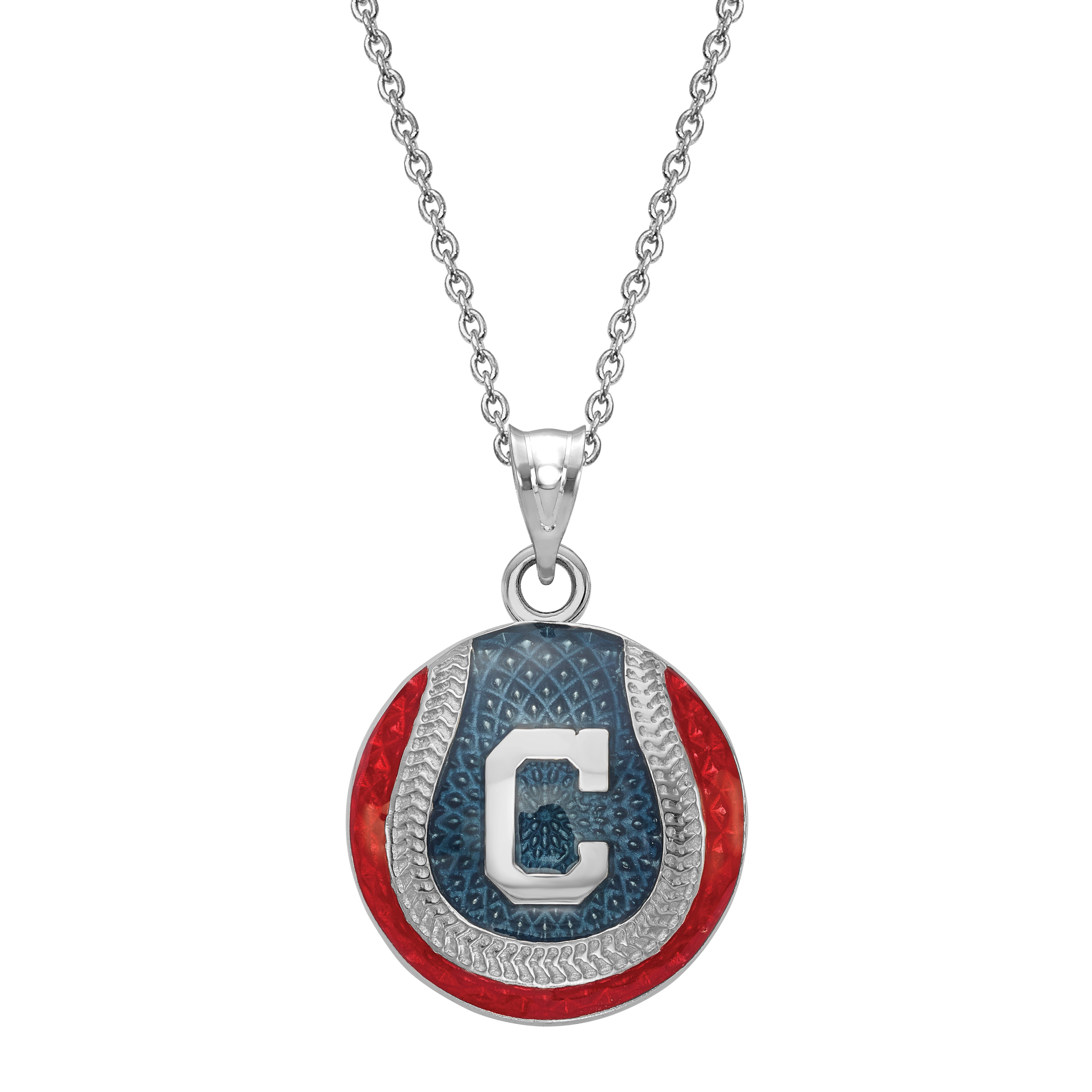 Cleveland Indians Enameled Baseball Pendant in Sterling Silver