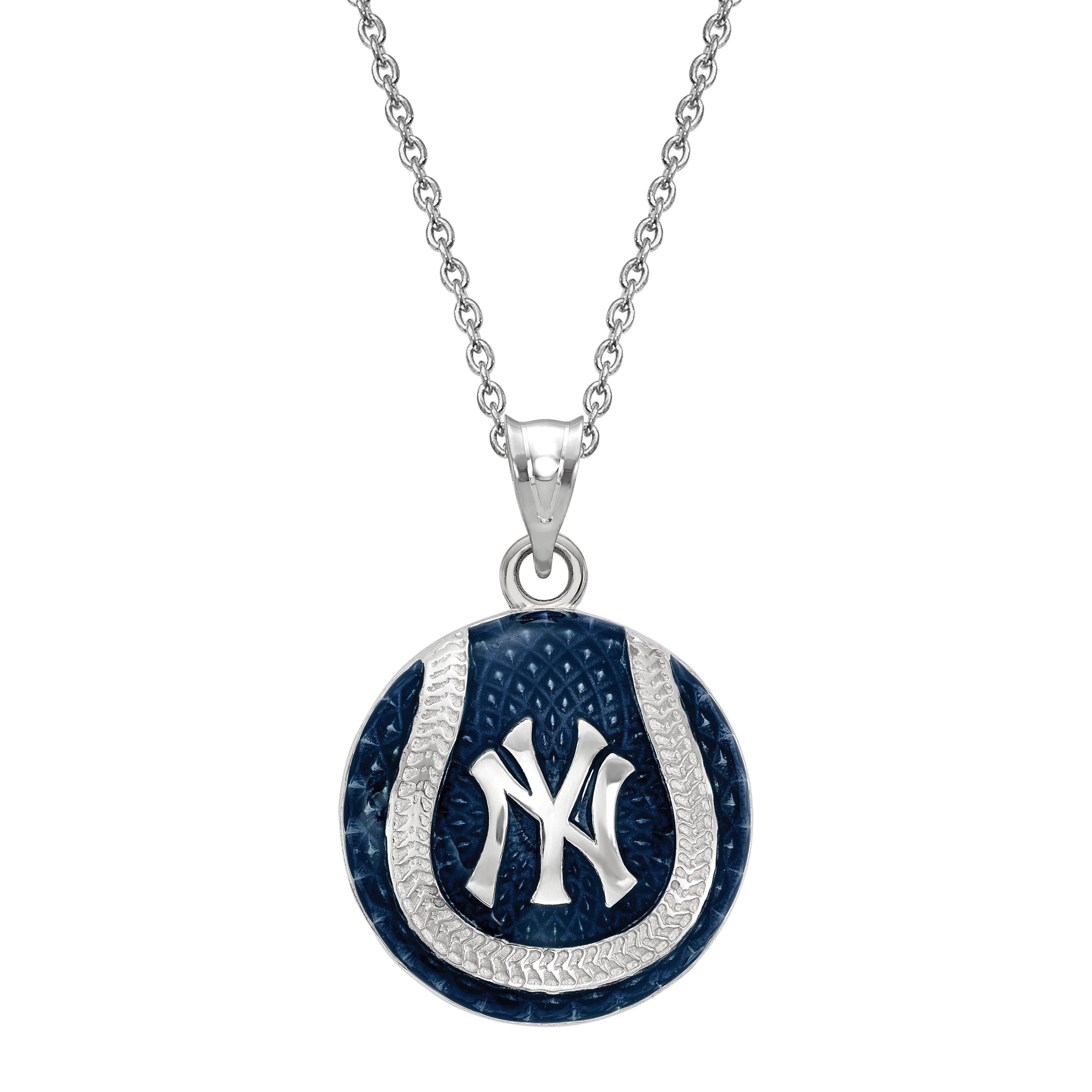 New York Yankees Baseball Enameled Pendant in Sterling Silver