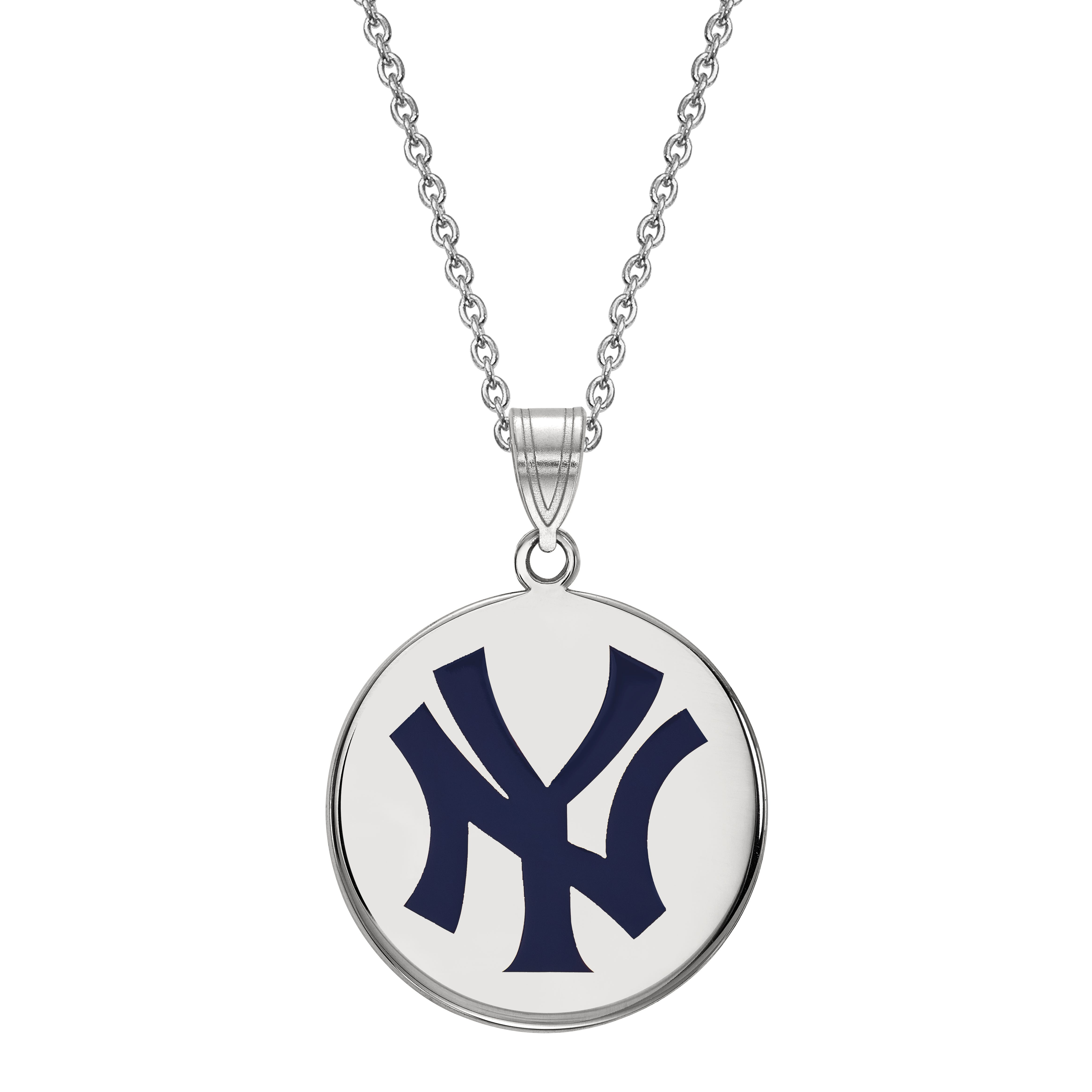 New York Yankees Large Disc Pendant in Sterling Silver