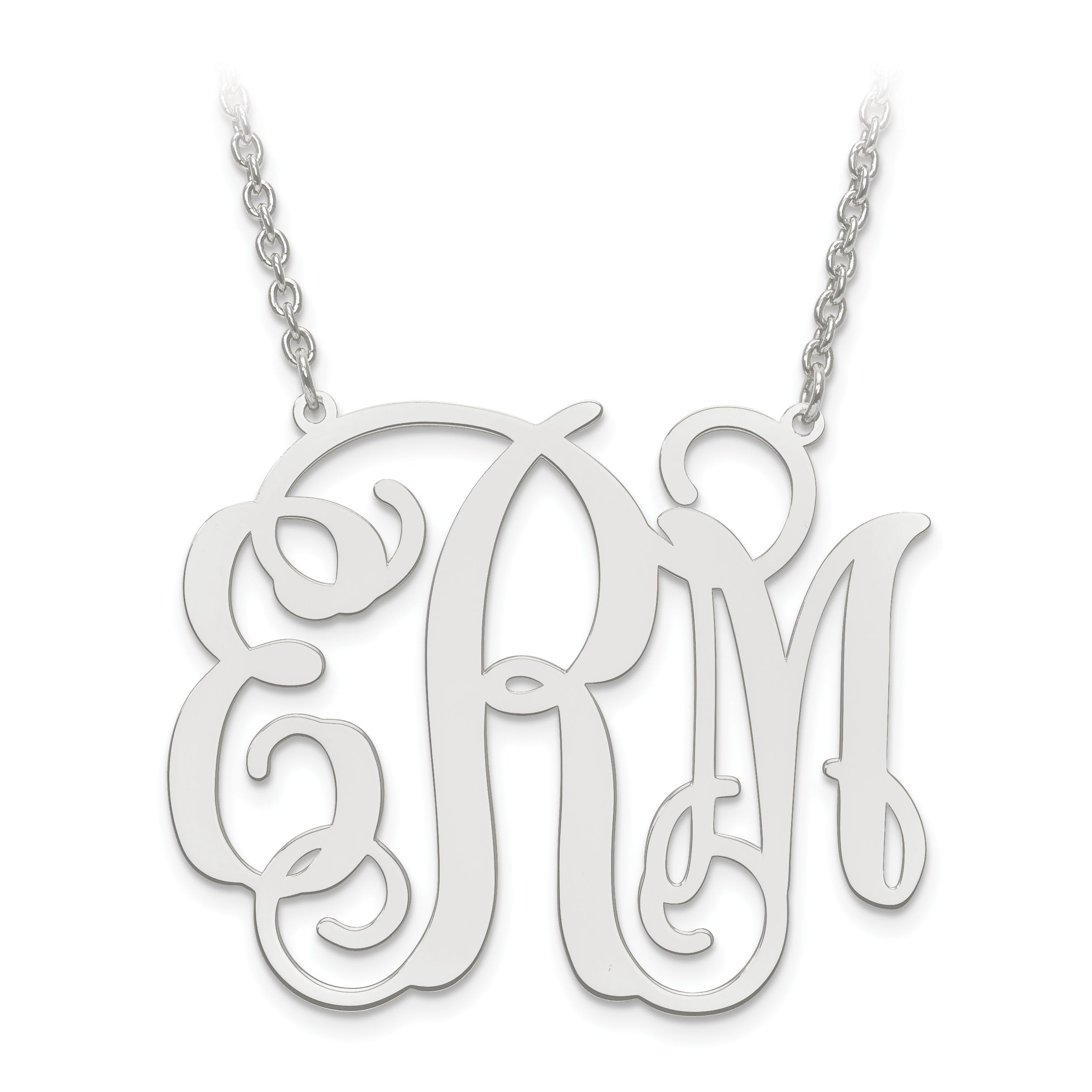 35x41 Monogram Plate Pendant in Sterling Silver (up to 3 letters)