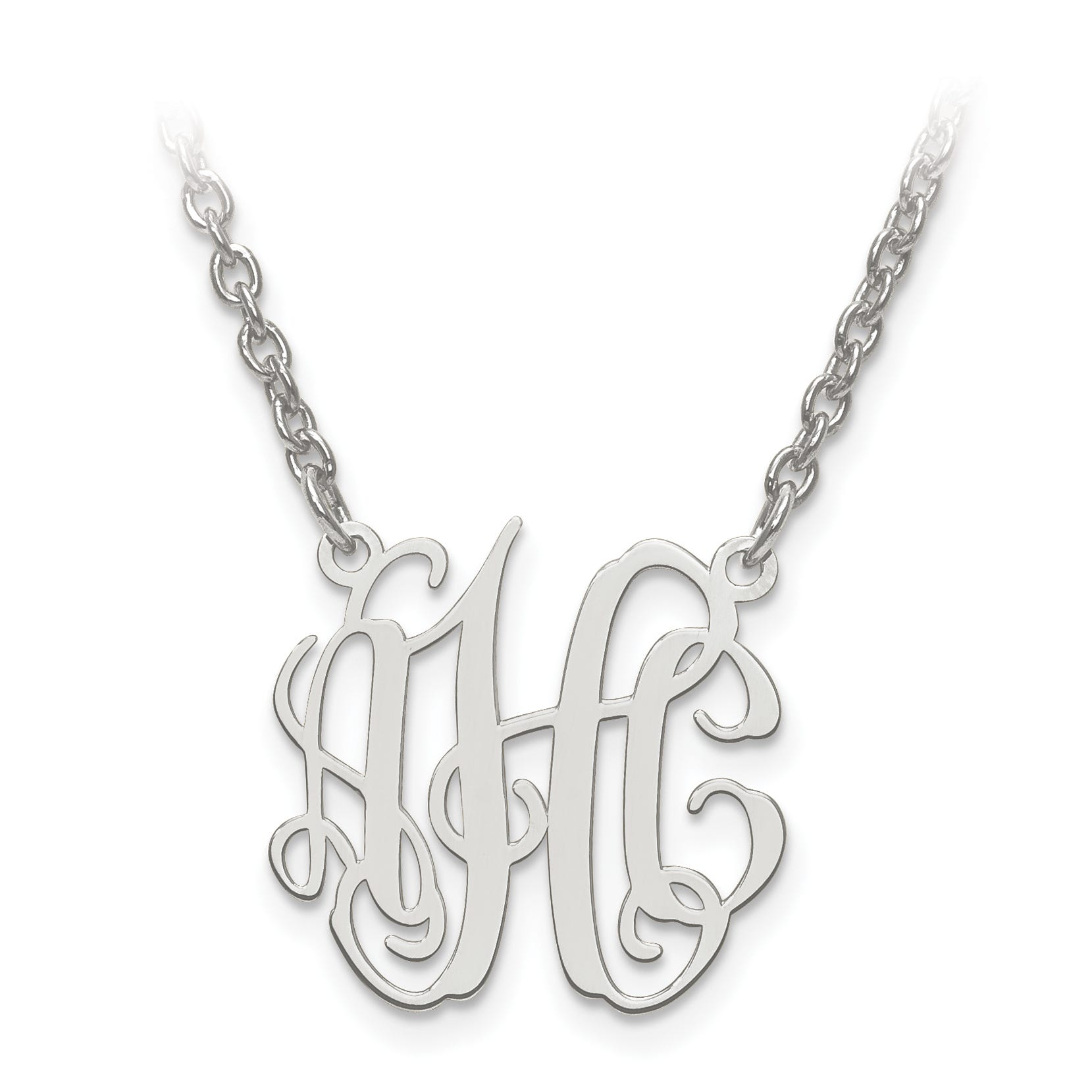 Laser Circular Shaped 18x19 Monogram Plate Pendant in Sterling Silver (up to 3 letters)