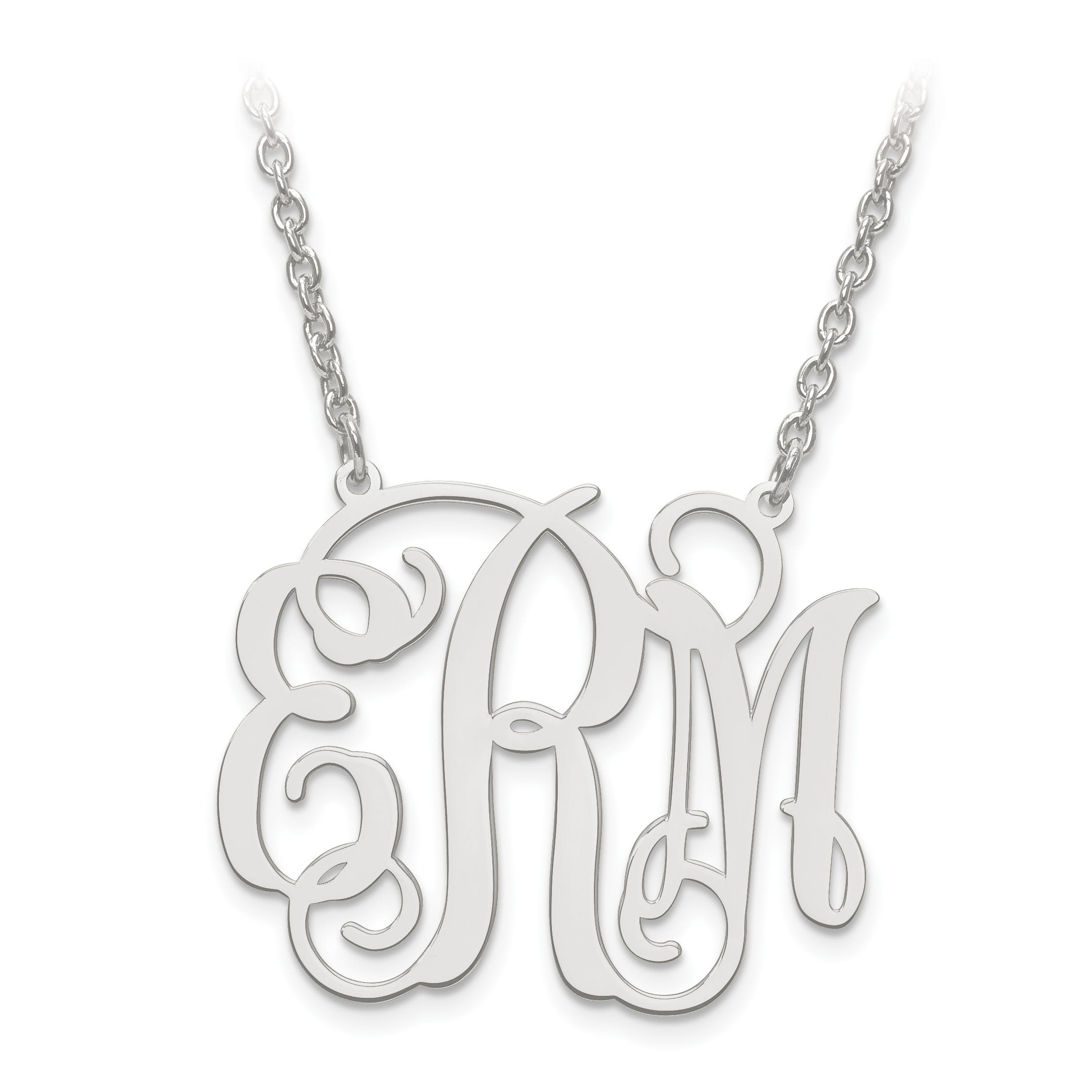 Laser Polished 29x36 Monogram Plate in Sterling Silver (up to 3 letters)