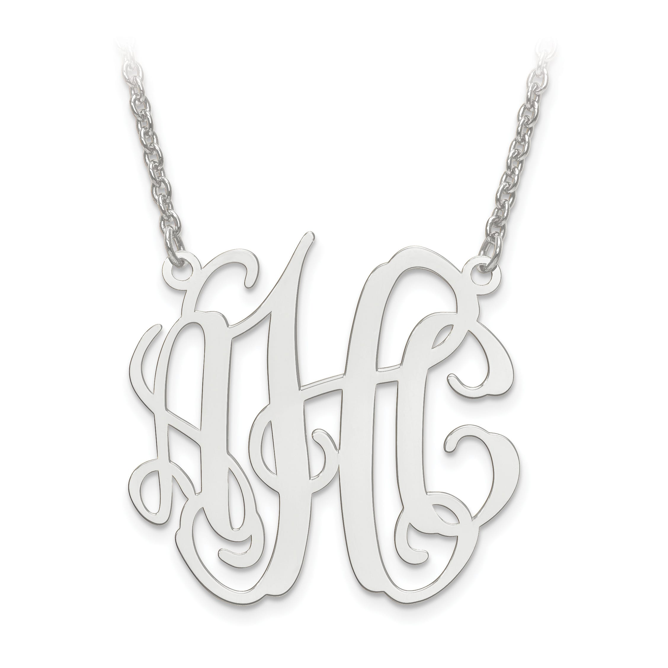 Laser Circular Shaped 30x31 Monogram Plate Pendant in Sterling Silver (up to 3 letters)