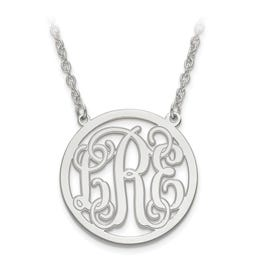 Etched Outline 26mm Monogram Circle Pendant in Sterling Silver (up to 3 letters)