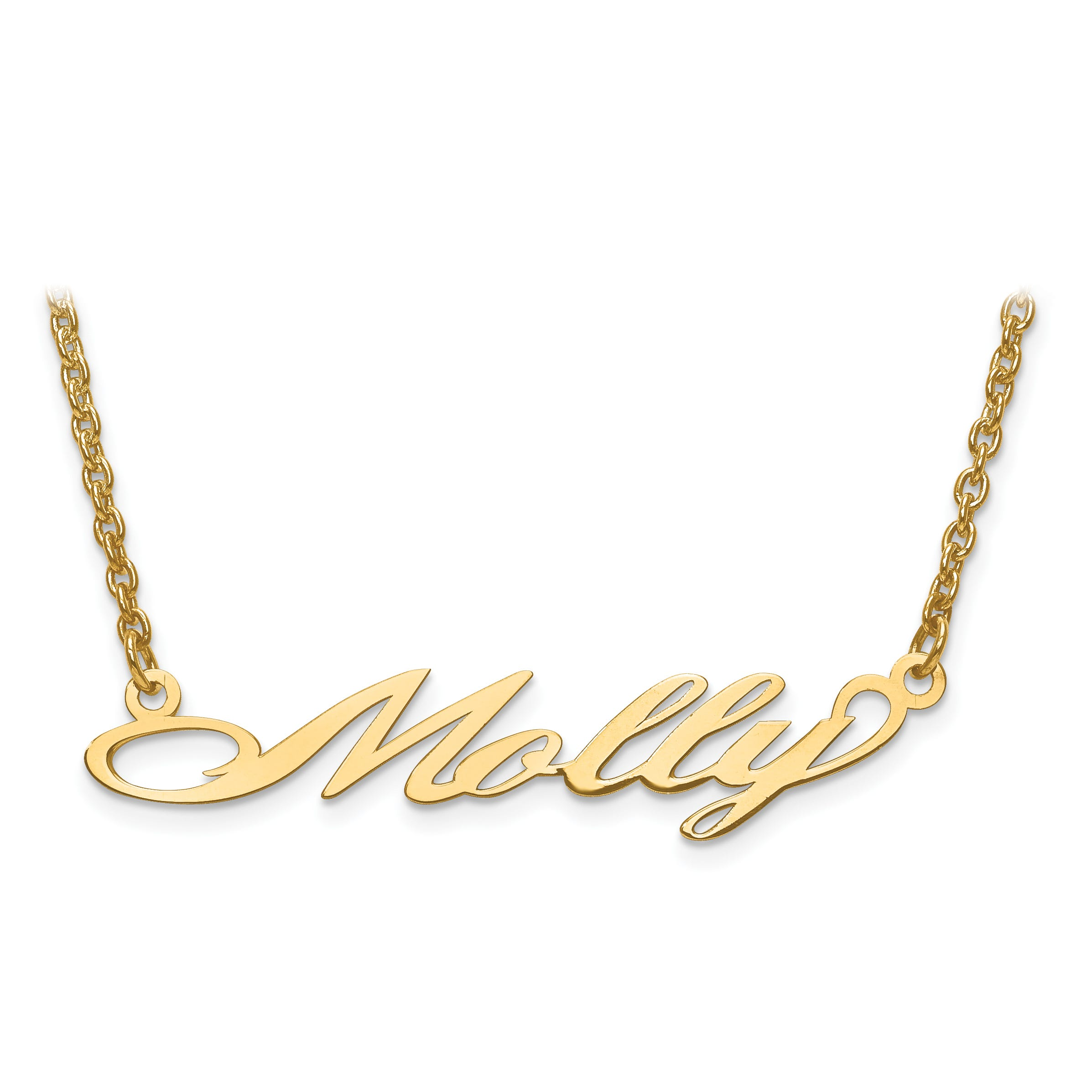 Laser Polished Nameplate Necklace in 10k Yellow Gold (up to 9 letters)