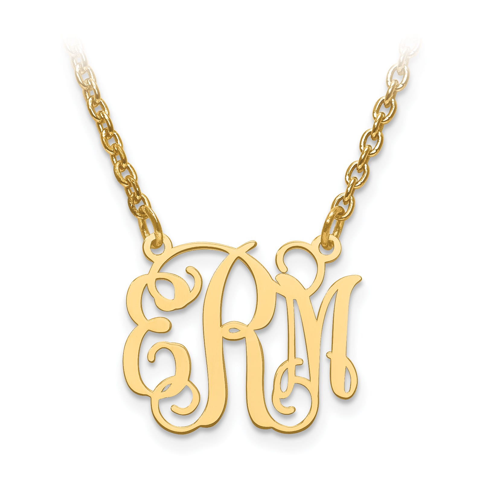 Laser High Polished 15.8x18.5 Monogram Plate in Gold Plated Sterling Silver (up to 3 letters)
