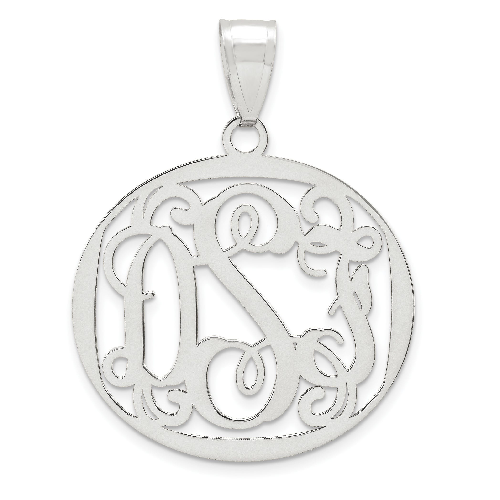 Round 25x28 Monogram Pendant in Sterling Silver (up to 3 letters)