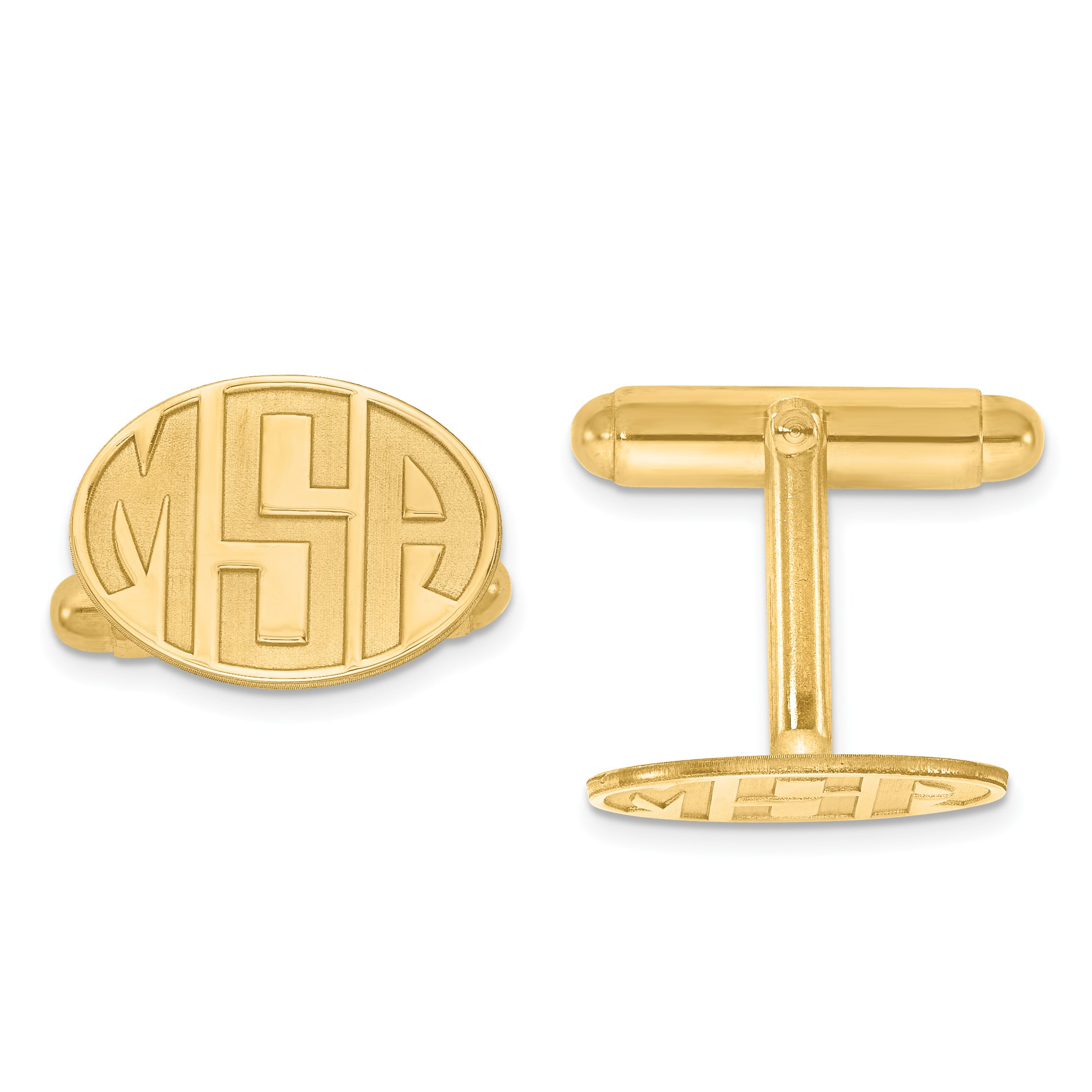 Recessed Letters Oval Monogram Cuff Links in Gold Plated Sterling Silver (up to 3 letters)