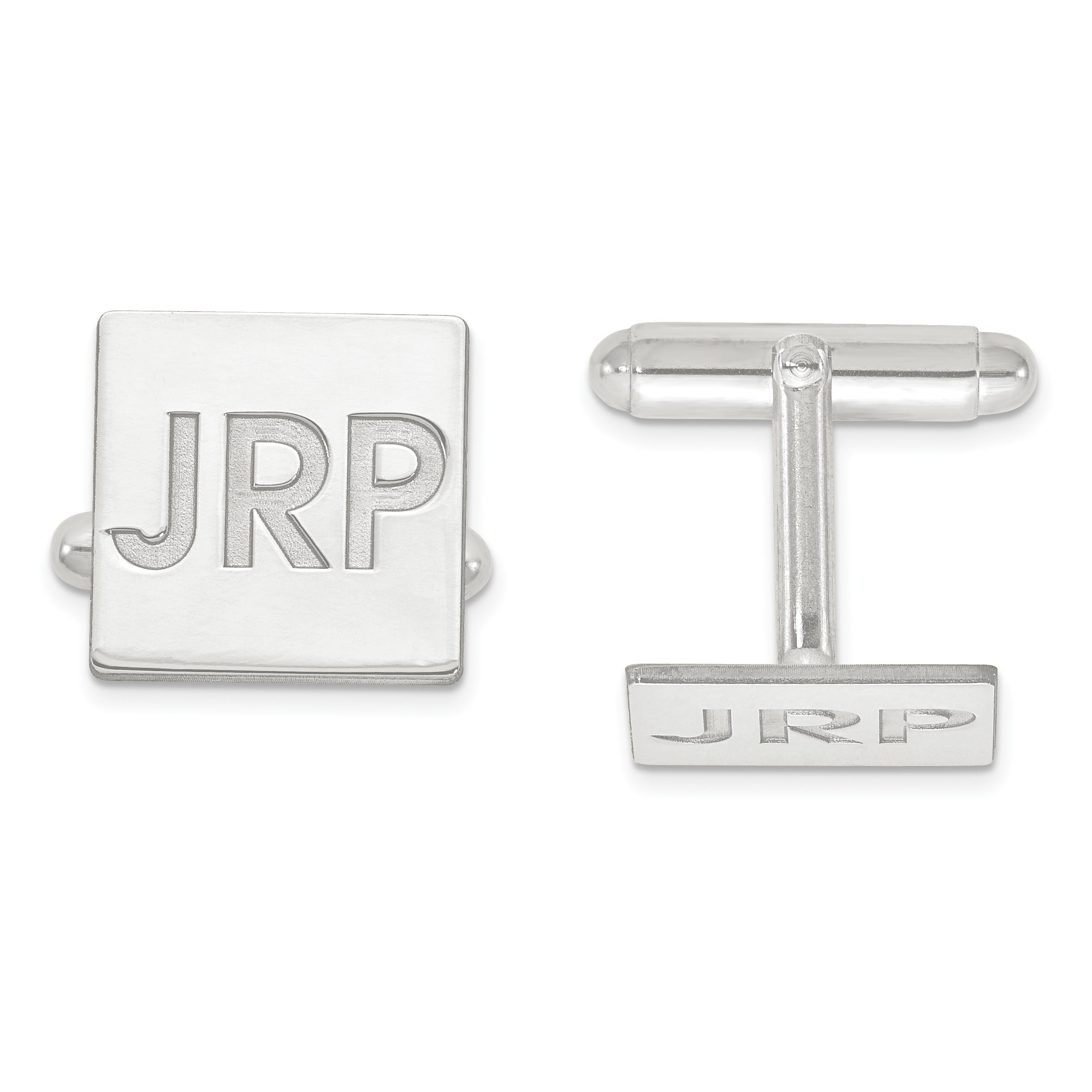 Recessed Letters Square Monogram Cuff Links in Sterling Silver (up to 3 letters)