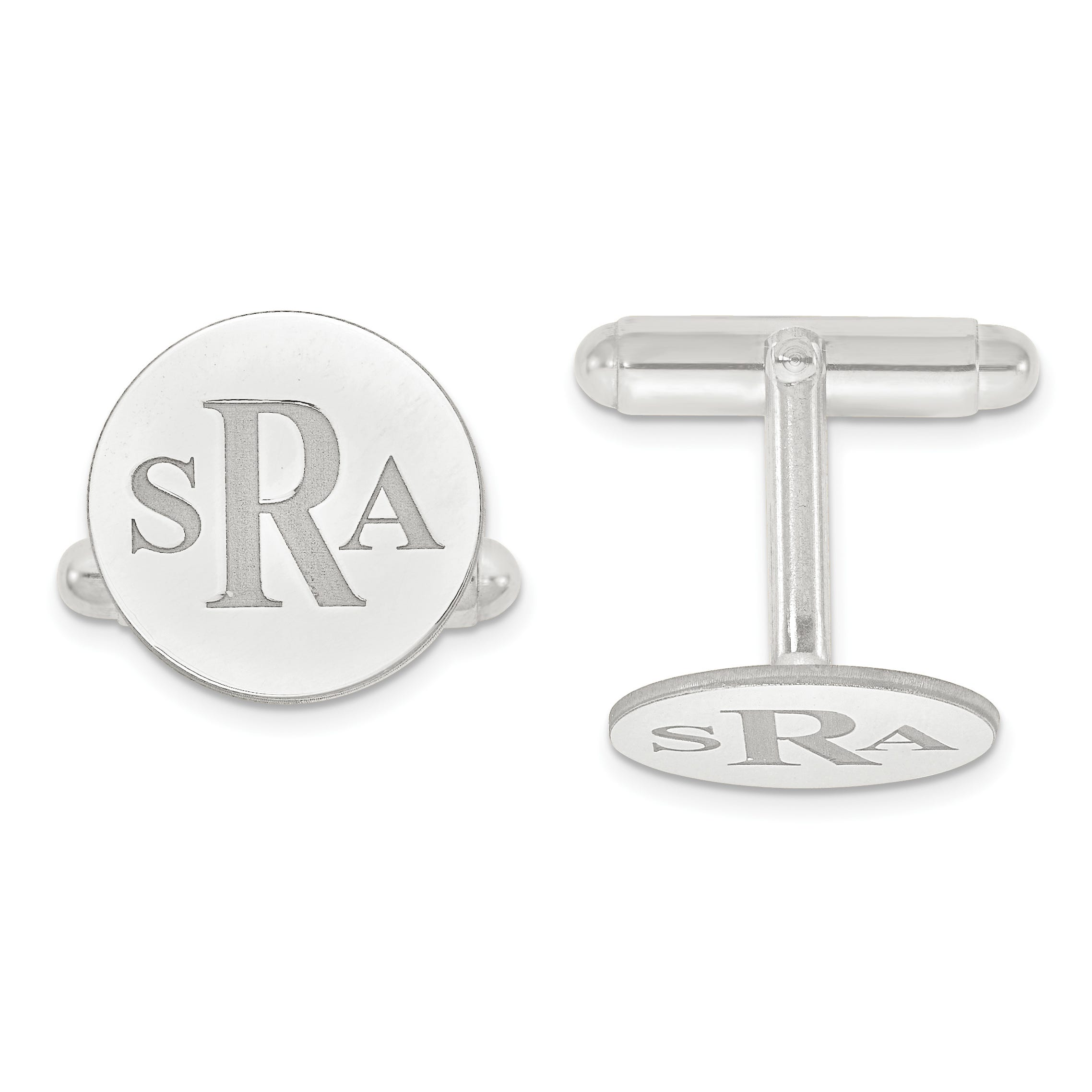 Recessed Letters Circle Monogram Cuff Links in Sterling Silver (up to 3 letters)