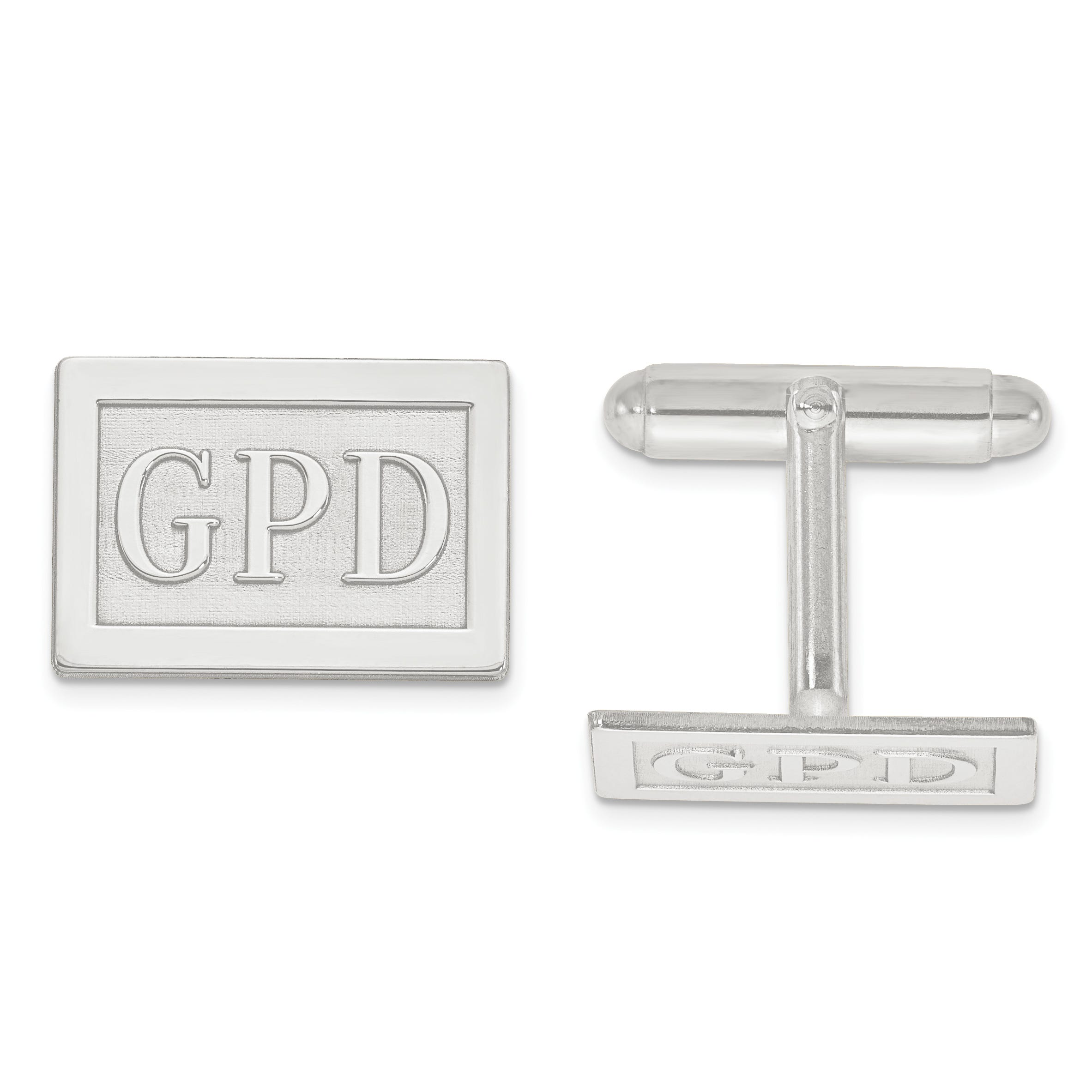 Raised Letters Rectangle Monogram Cuff Links in Sterling Silver (up to 3 letters)