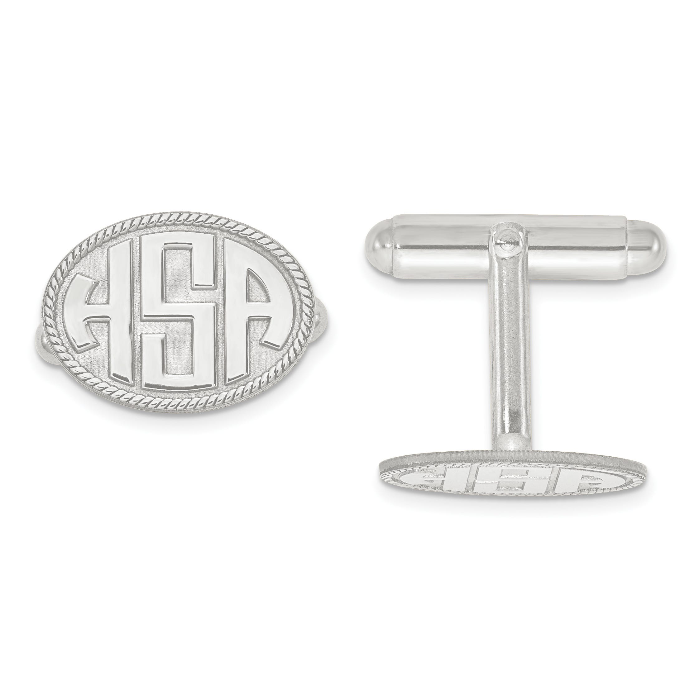 Raised Letters Oval Border Monogram Cuff Links in Sterling Silver (up to 3 letters)