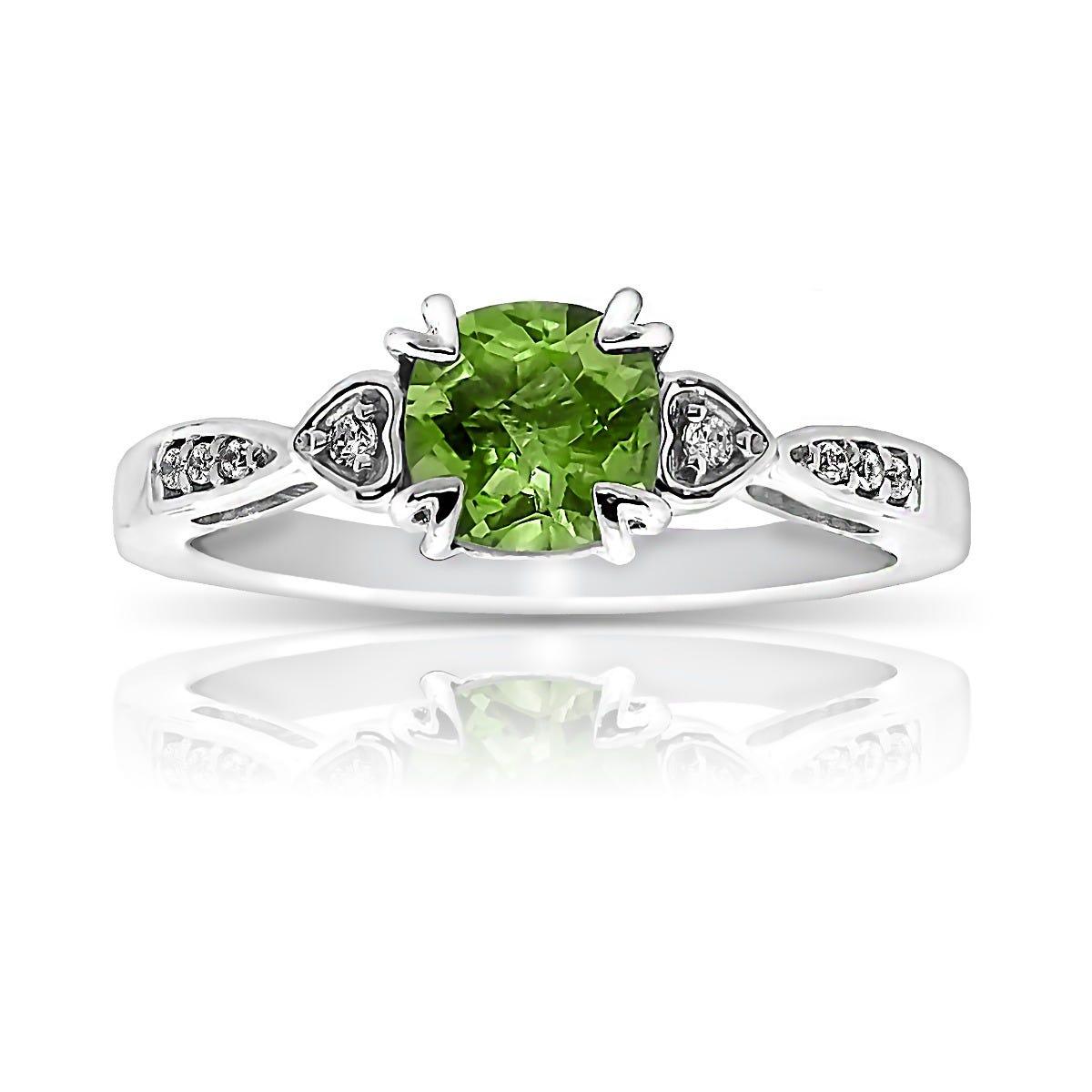 Peridot & Diamond 'Hearts' Ring in 10k White Gold