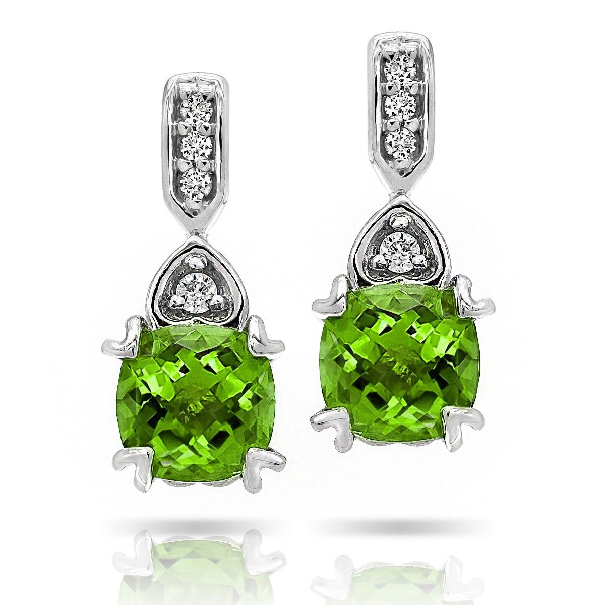 Peridot Diamond Hearts Drop Earrings In 10k White Gold
