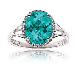Fiji Blue Oval Teal Gemstone & Diamond Ring in 14k White Gold