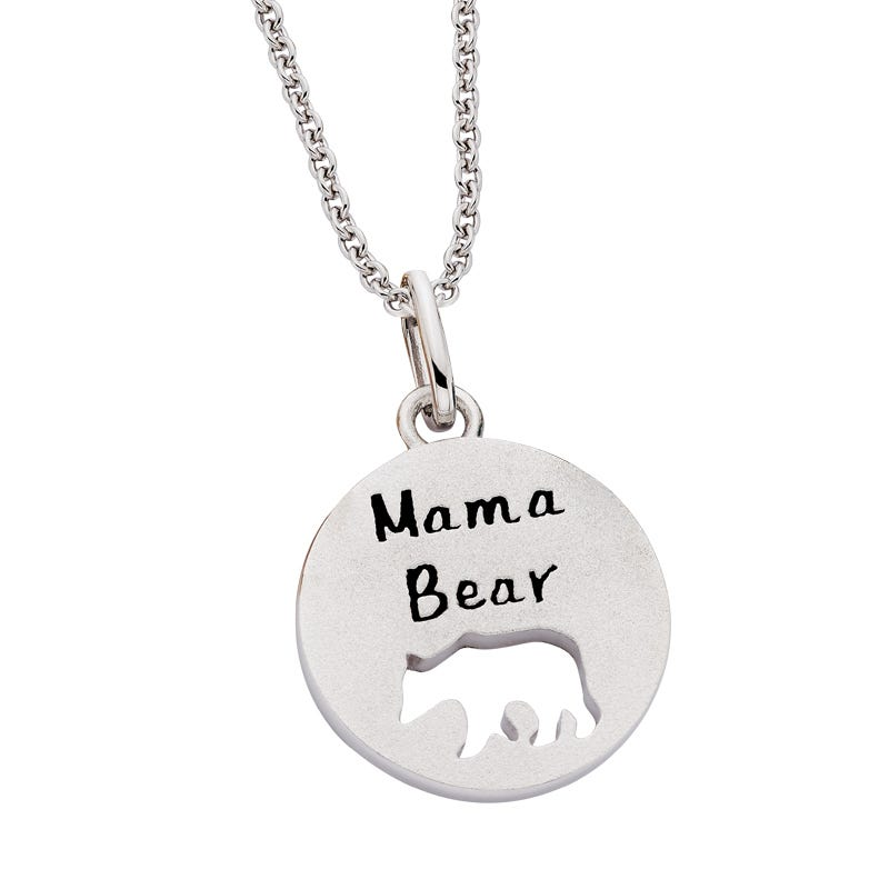 Mama Bear Mommy Chic Pendant in Sterling Silver